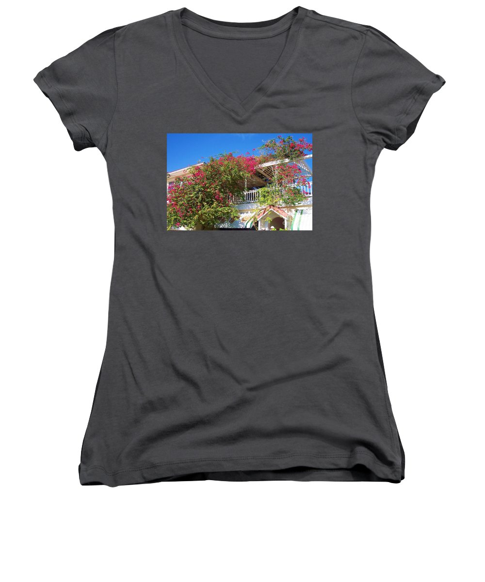 Flowers Women's V-Neck (Athletic Fit) featuring the photograph Bougainvillea Villa by Debbi Granruth