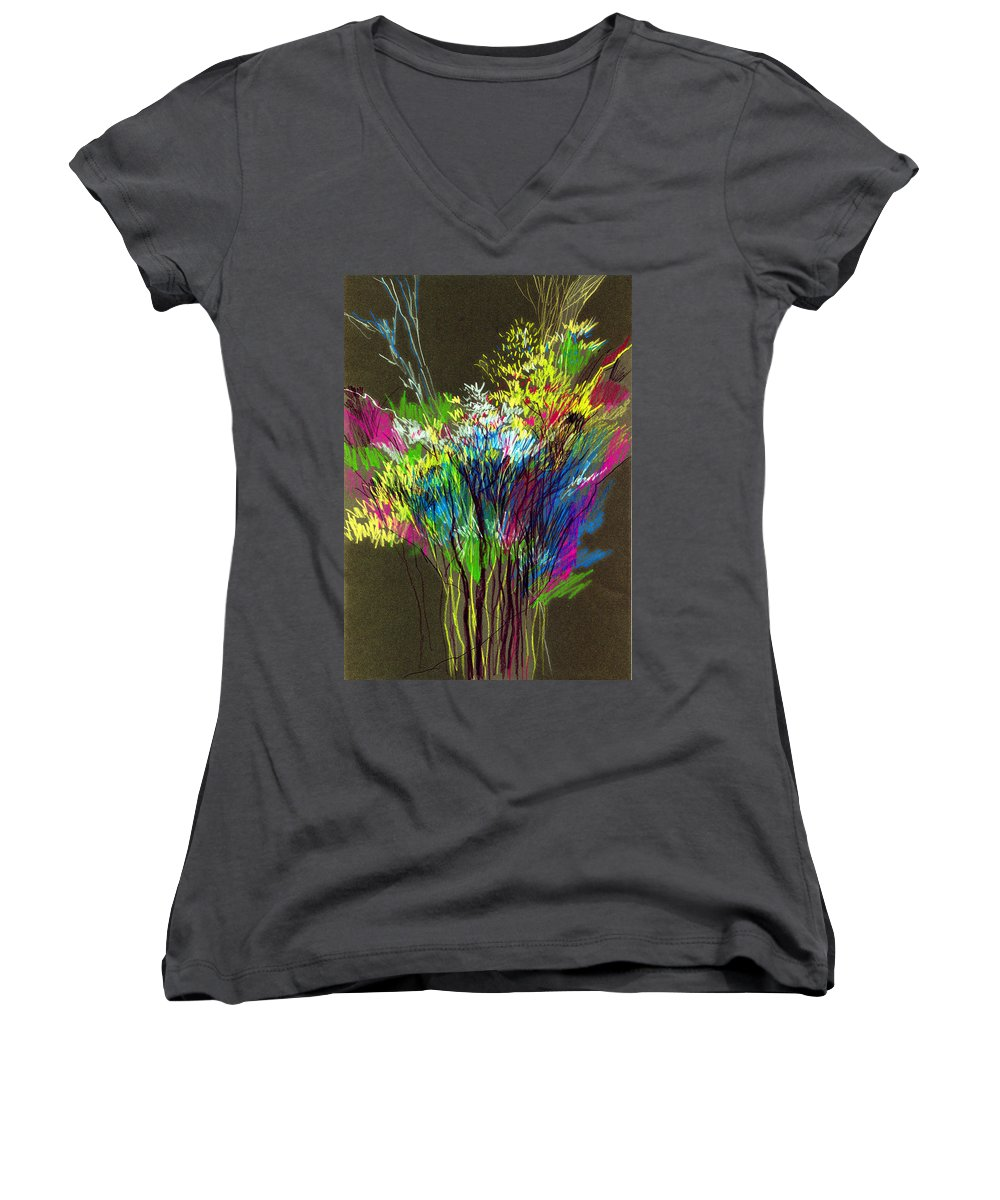 Flowers Women's V-Neck T-Shirt featuring the painting Bouquet by Anil Nene
