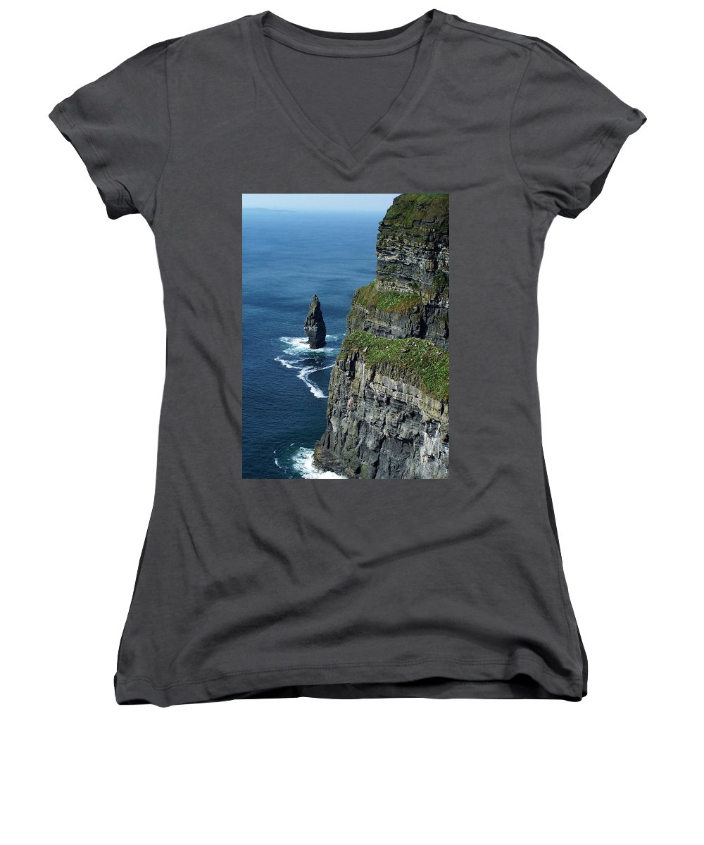 Irish Women's V-Neck (Athletic Fit) featuring the photograph Brananmore Cliffs Of Moher Ireland by Teresa Mucha
