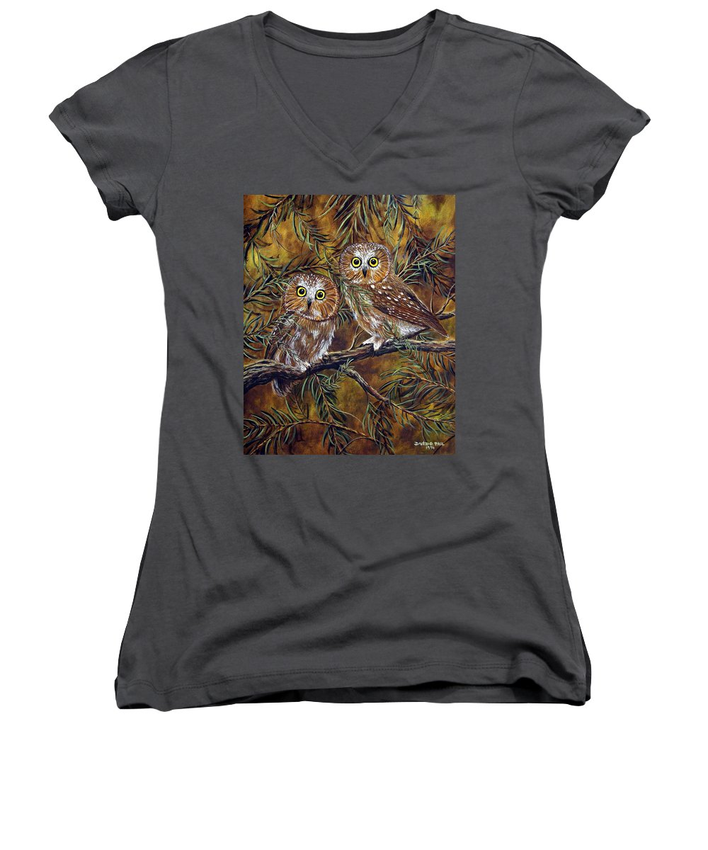 Owls Women's V-Neck (Athletic Fit) featuring the painting Branch Buddies by David G Paul