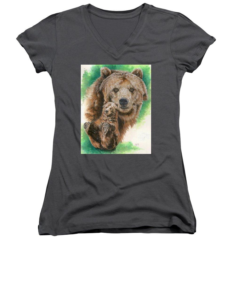 Bear Women's V-Neck T-Shirt featuring the mixed media Brawny by Barbara Keith