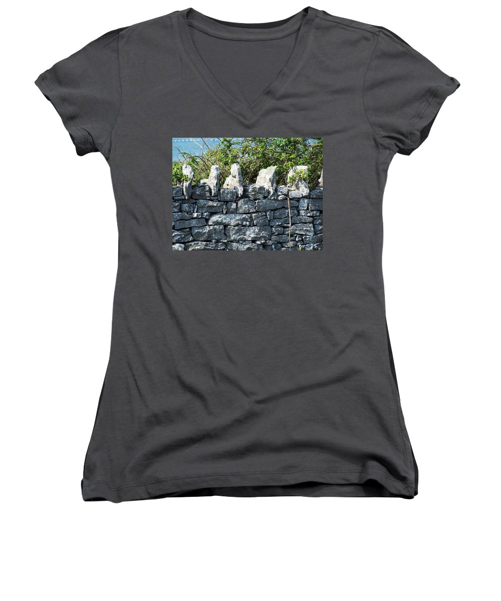 Irish Women's V-Neck (Athletic Fit) featuring the photograph Briars And Stones New Quay Ireland County Clare by Teresa Mucha