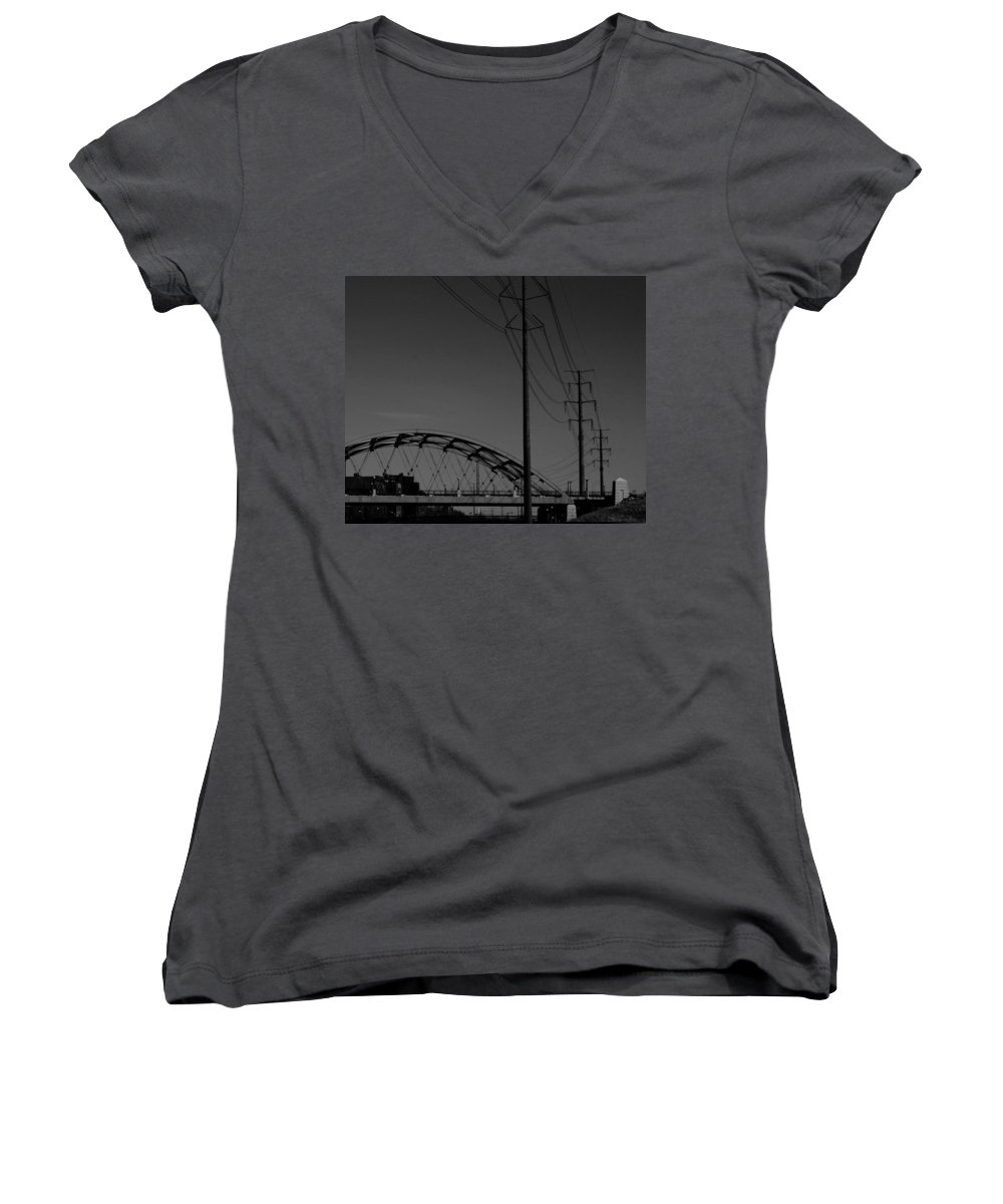 Metal Structures Women's V-Neck (Athletic Fit) featuring the photograph Bridge And Power Poles At Dusk by Angus Hooper Iii