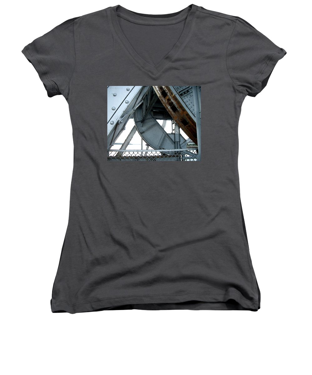 Steel Women's V-Neck (Athletic Fit) featuring the photograph Bridge Gears by Tim Nyberg