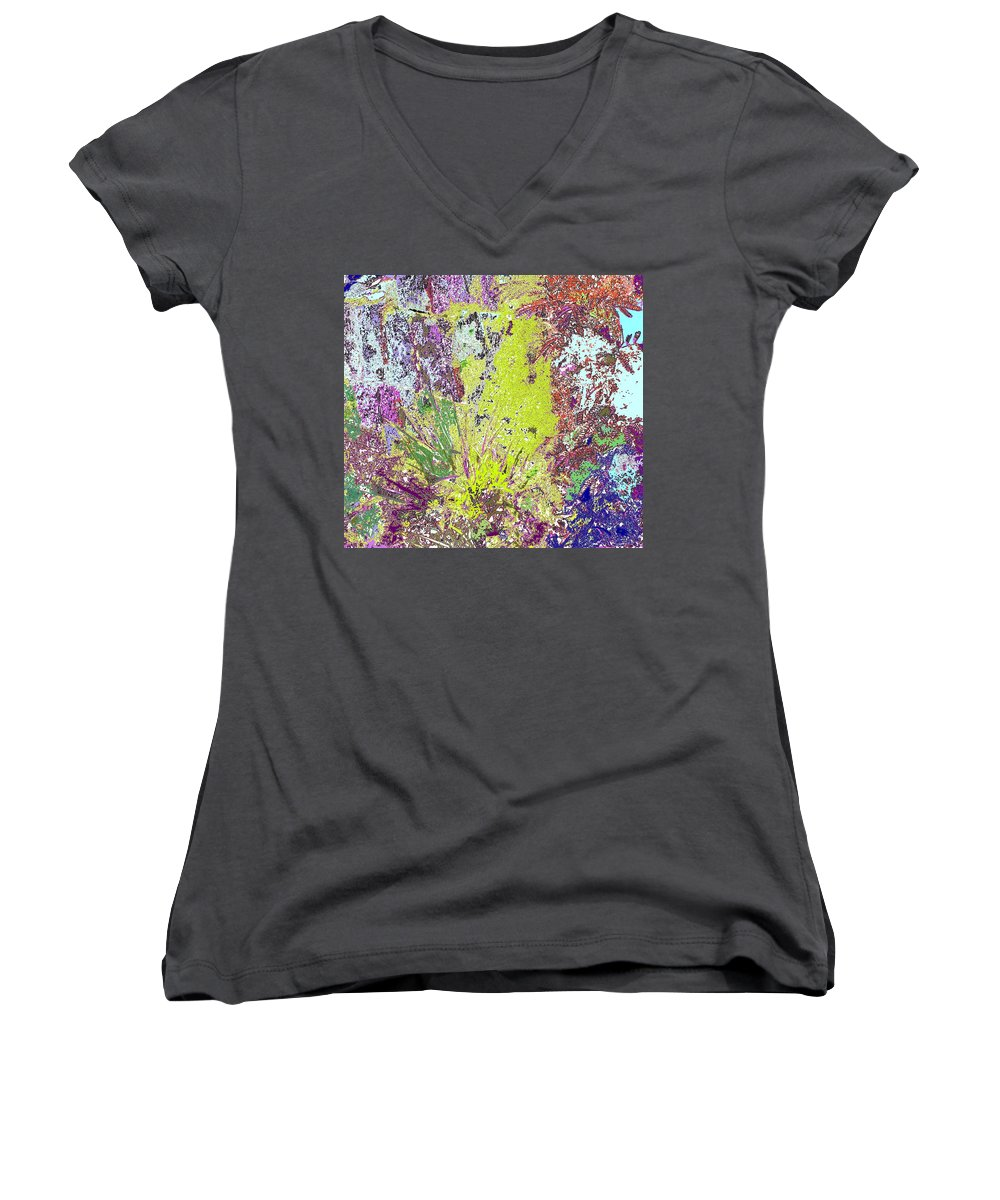 Abstract Women's V-Neck T-Shirt featuring the photograph Brimstone Fantasy by Ian MacDonald