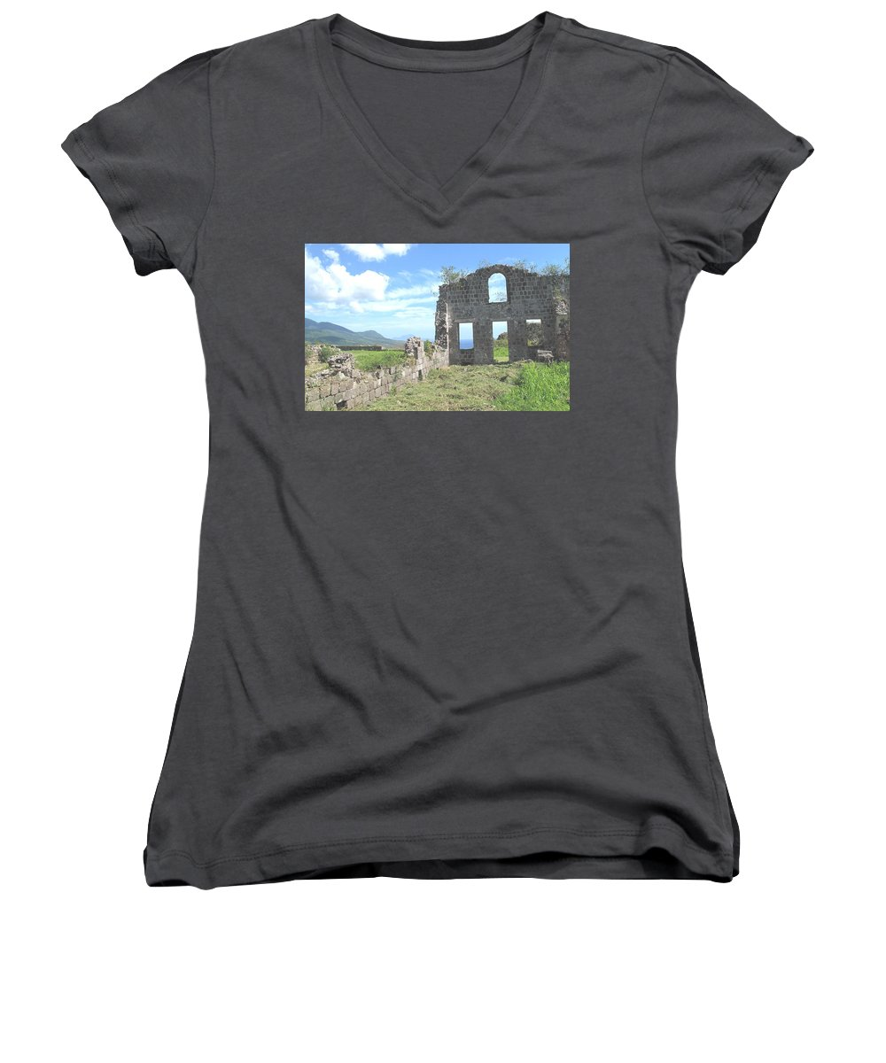 St Kitts Women's V-Neck T-Shirt featuring the photograph Brimstone Ruins by Ian MacDonald