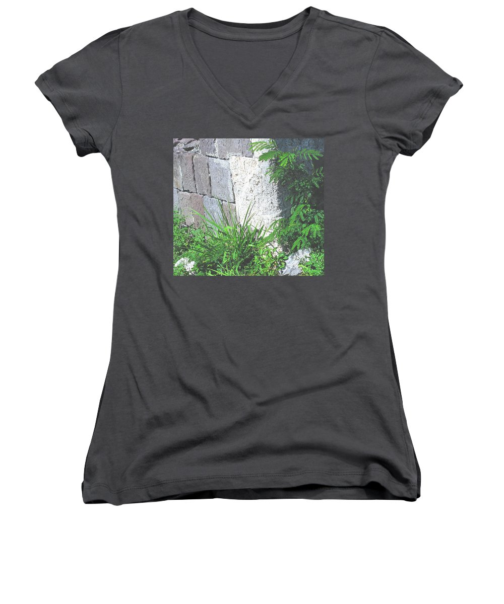 Brimstone Women's V-Neck T-Shirt featuring the photograph Brimstone Wall by Ian MacDonald