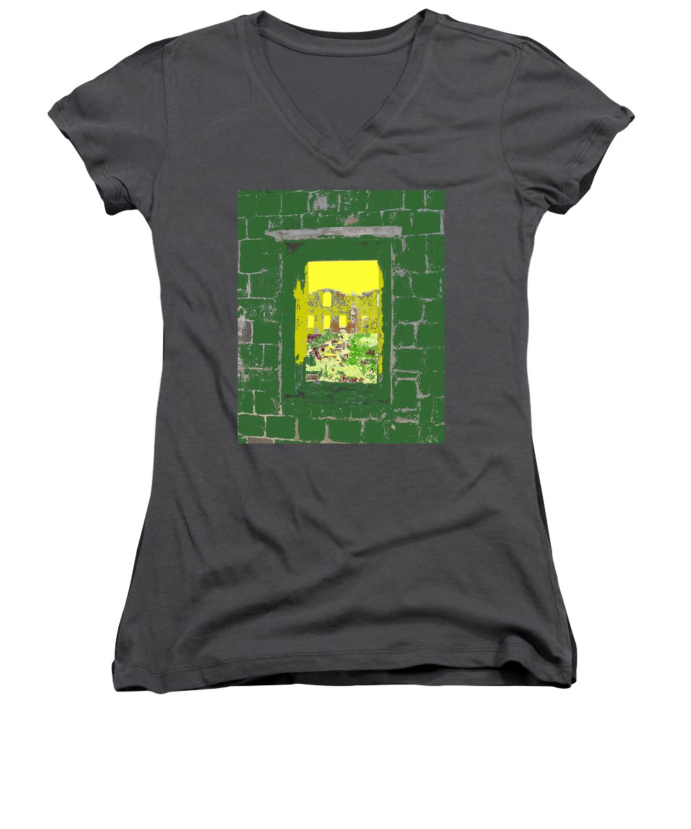 Brimstone Women's V-Neck (Athletic Fit) featuring the photograph Brimstone Window by Ian MacDonald