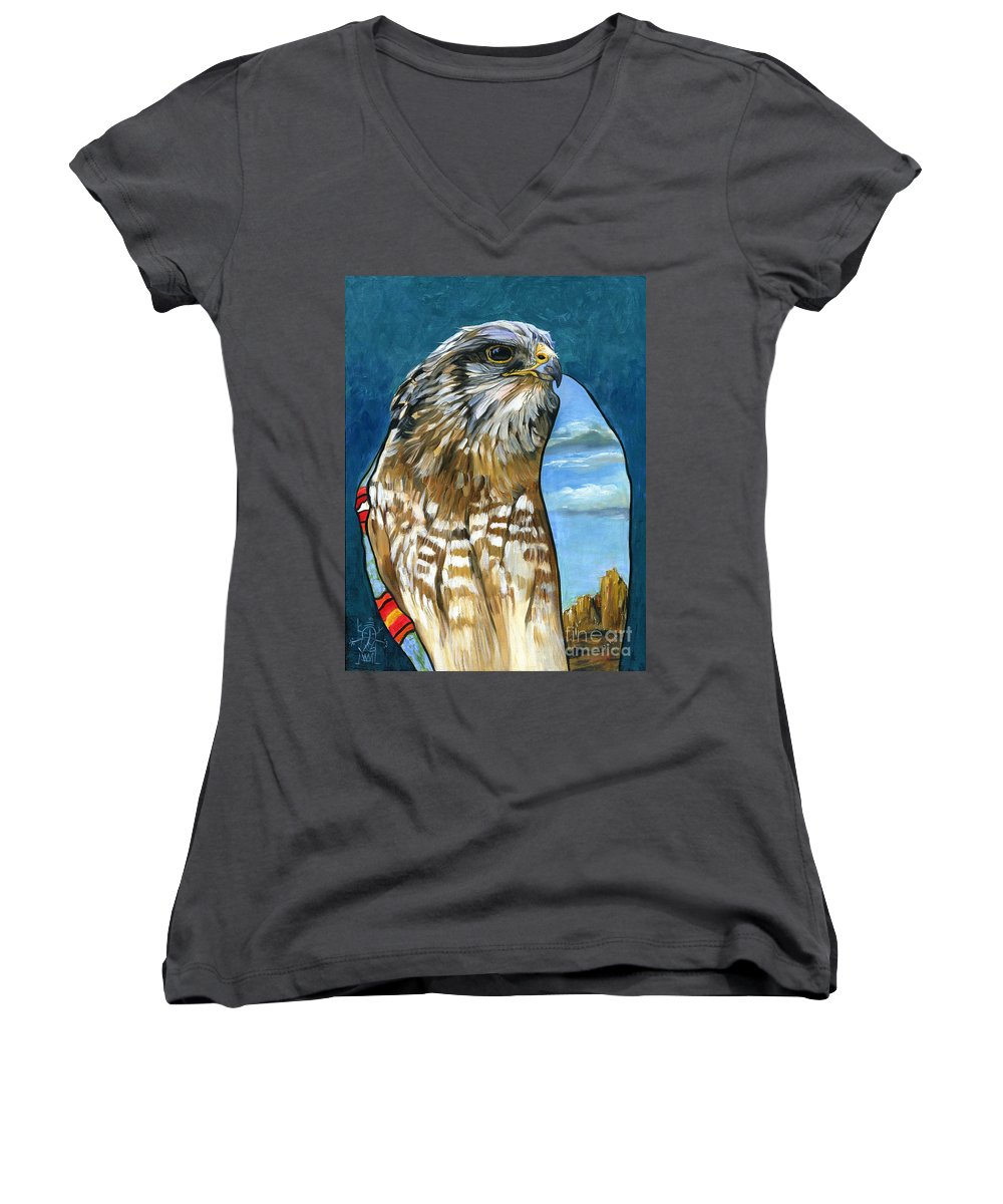 Hawk Women's V-Neck (Athletic Fit) featuring the painting Brother Hawk by J W Baker