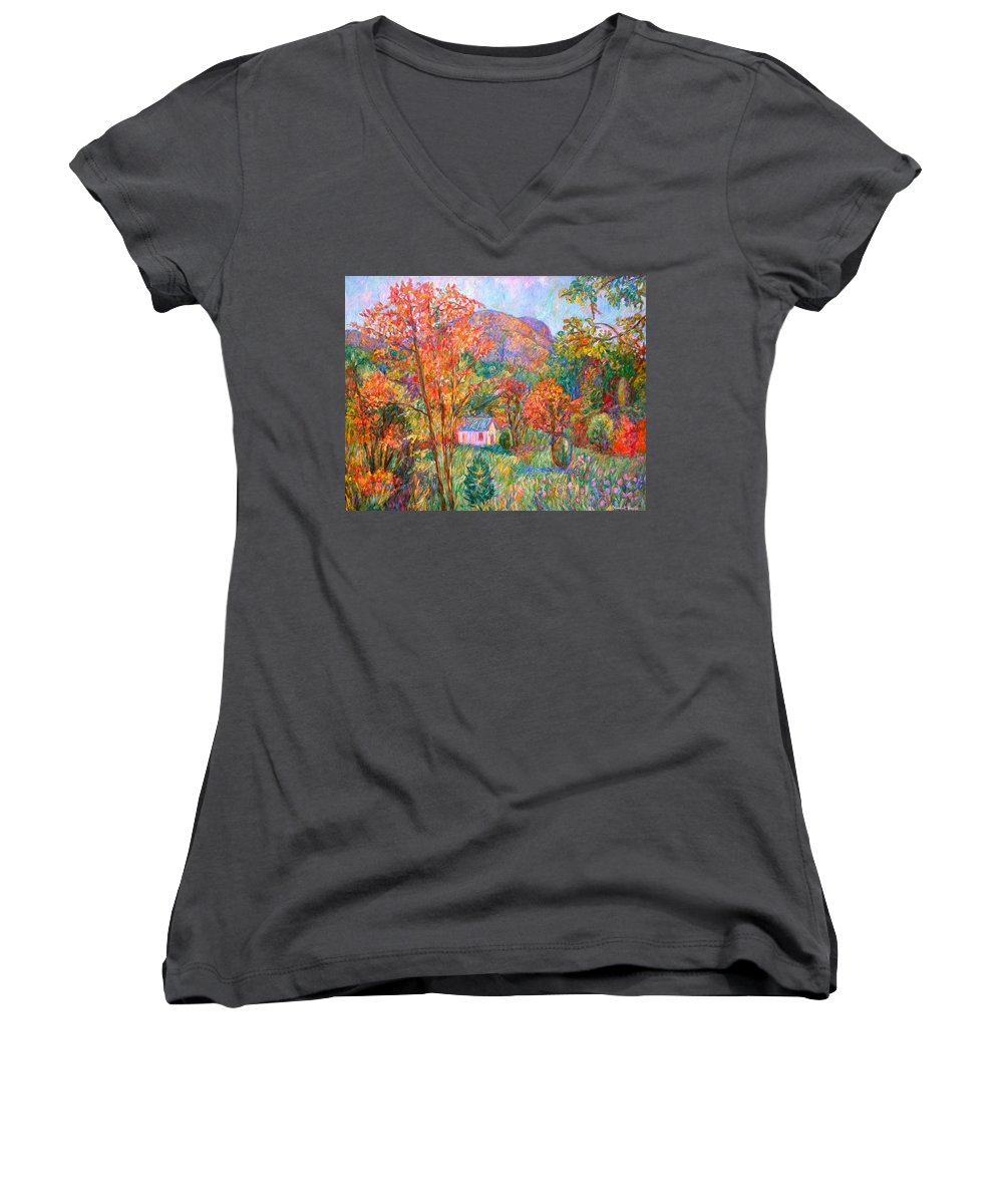 Landscape Women's V-Neck (Athletic Fit) featuring the painting Buffalo Mountain In Fall by Kendall Kessler