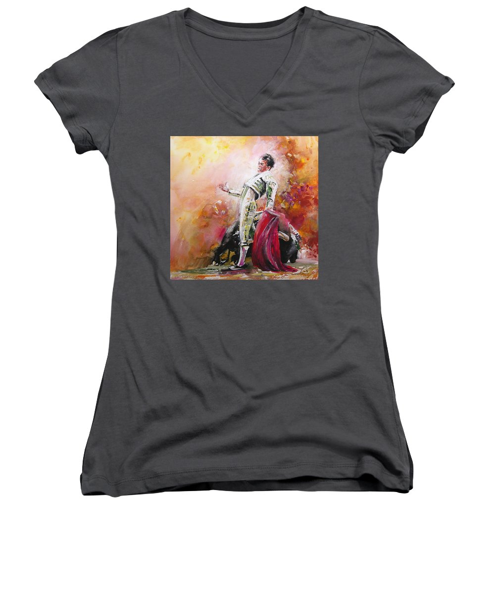 Animals Women's V-Neck T-Shirt featuring the painting Bullfight 24 by Miki De Goodaboom