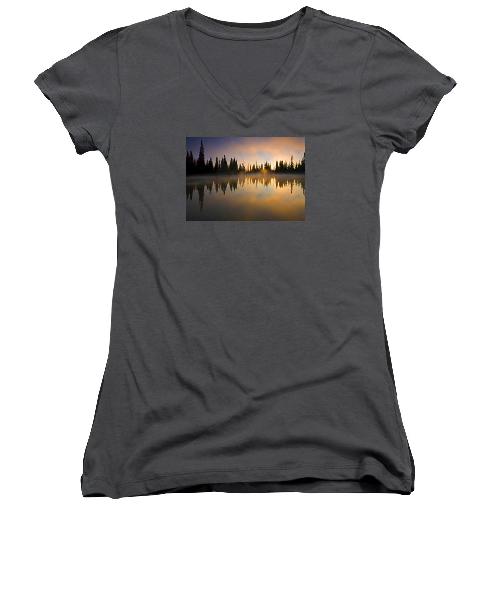 Lake Women's V-Neck (Athletic Fit) featuring the photograph Burning Dawn by Mike Dawson