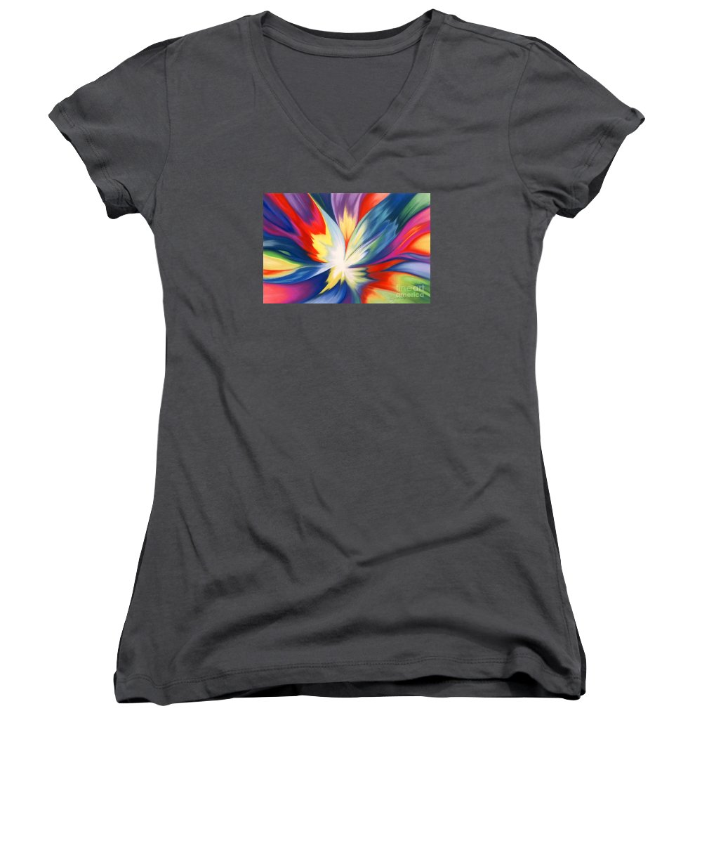 Abstract Women's V-Neck (Athletic Fit) featuring the painting Burst Of Joy by Lucy Arnold