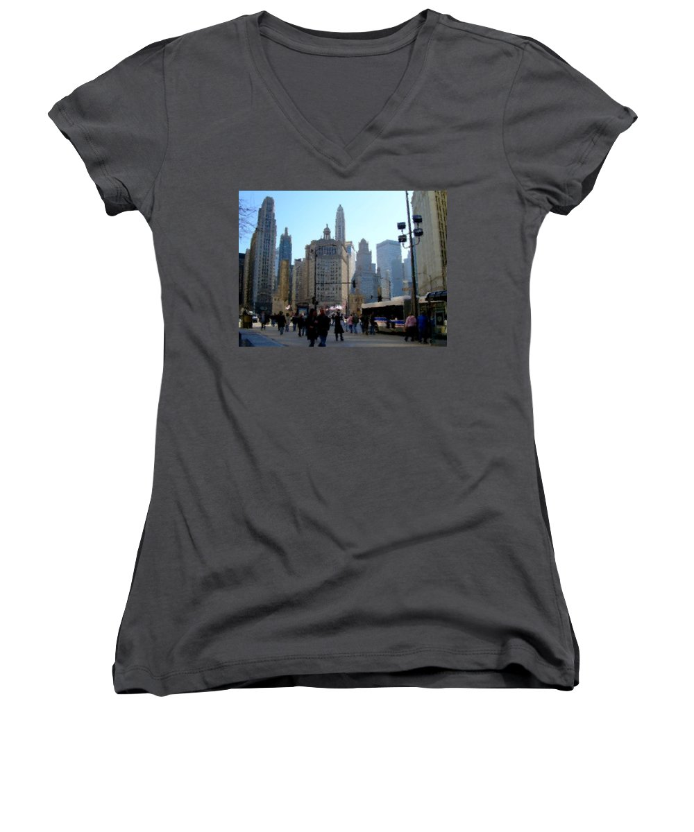 Archtecture Women's V-Neck T-Shirt featuring the digital art Bus On Miracle Mile by Anita Burgermeister