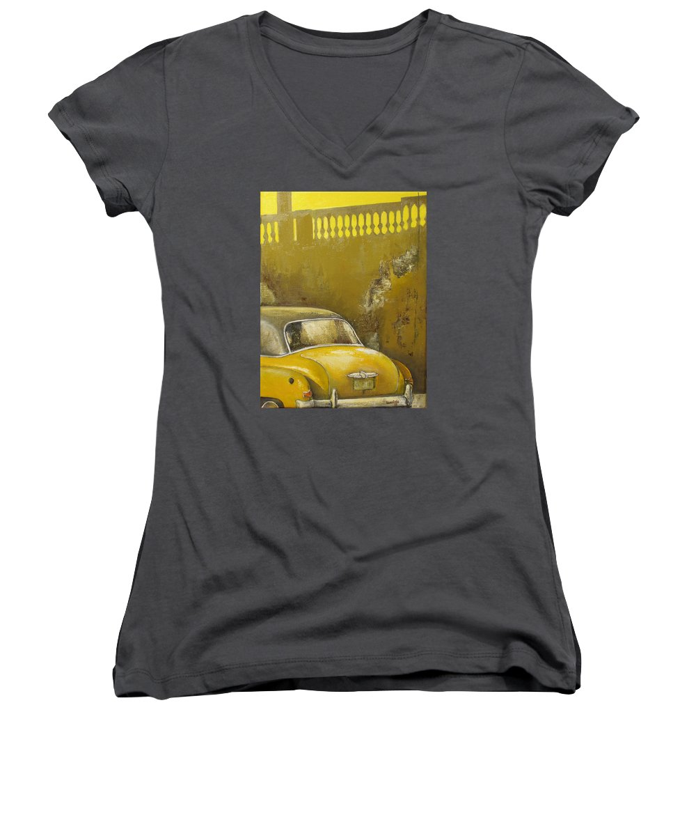 Havana Women's V-Neck (Athletic Fit) featuring the painting Buscando La Sombra by Tomas Castano