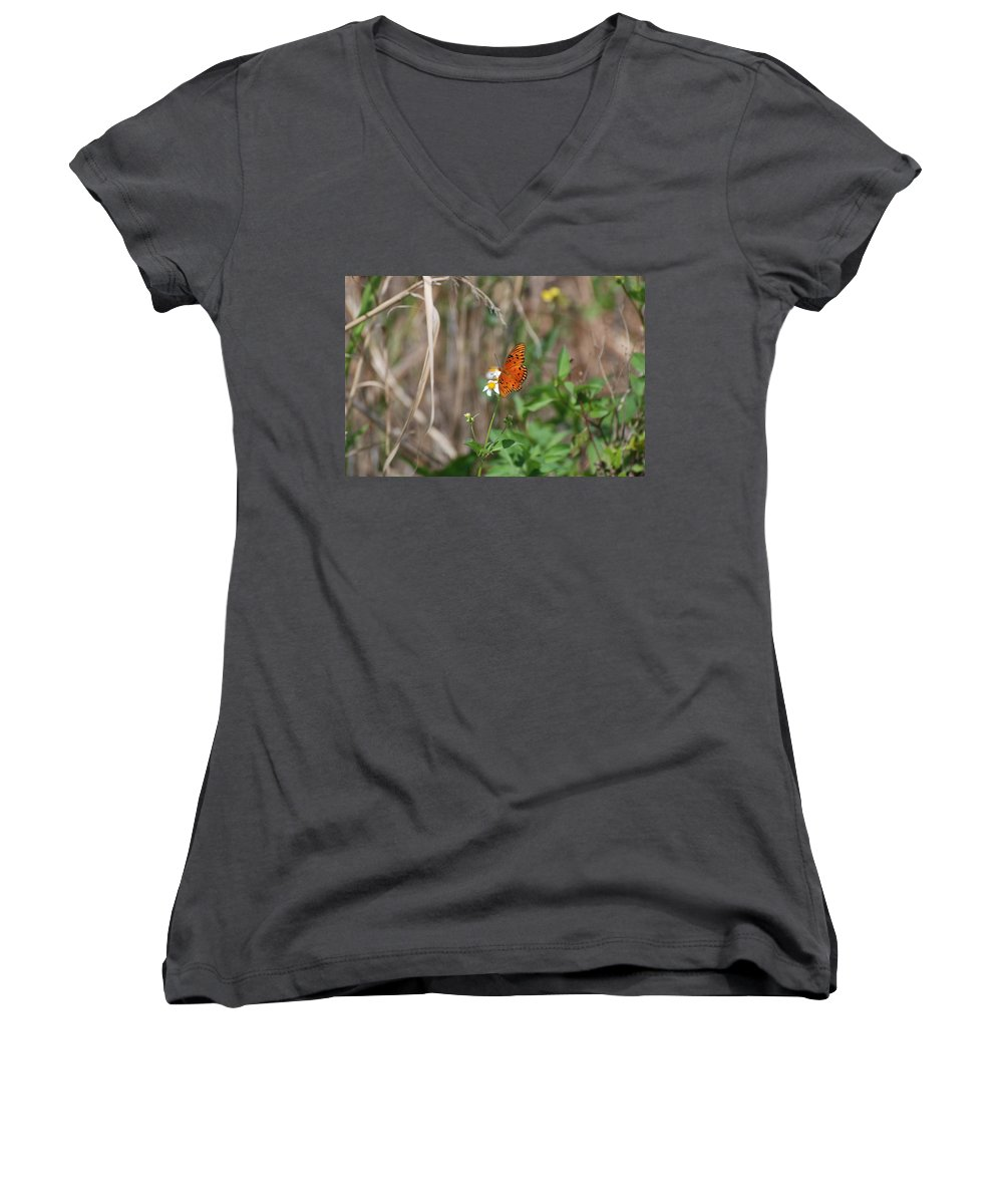 Nature Women's V-Neck (Athletic Fit) featuring the photograph Butterfly On Flower by Rob Hans