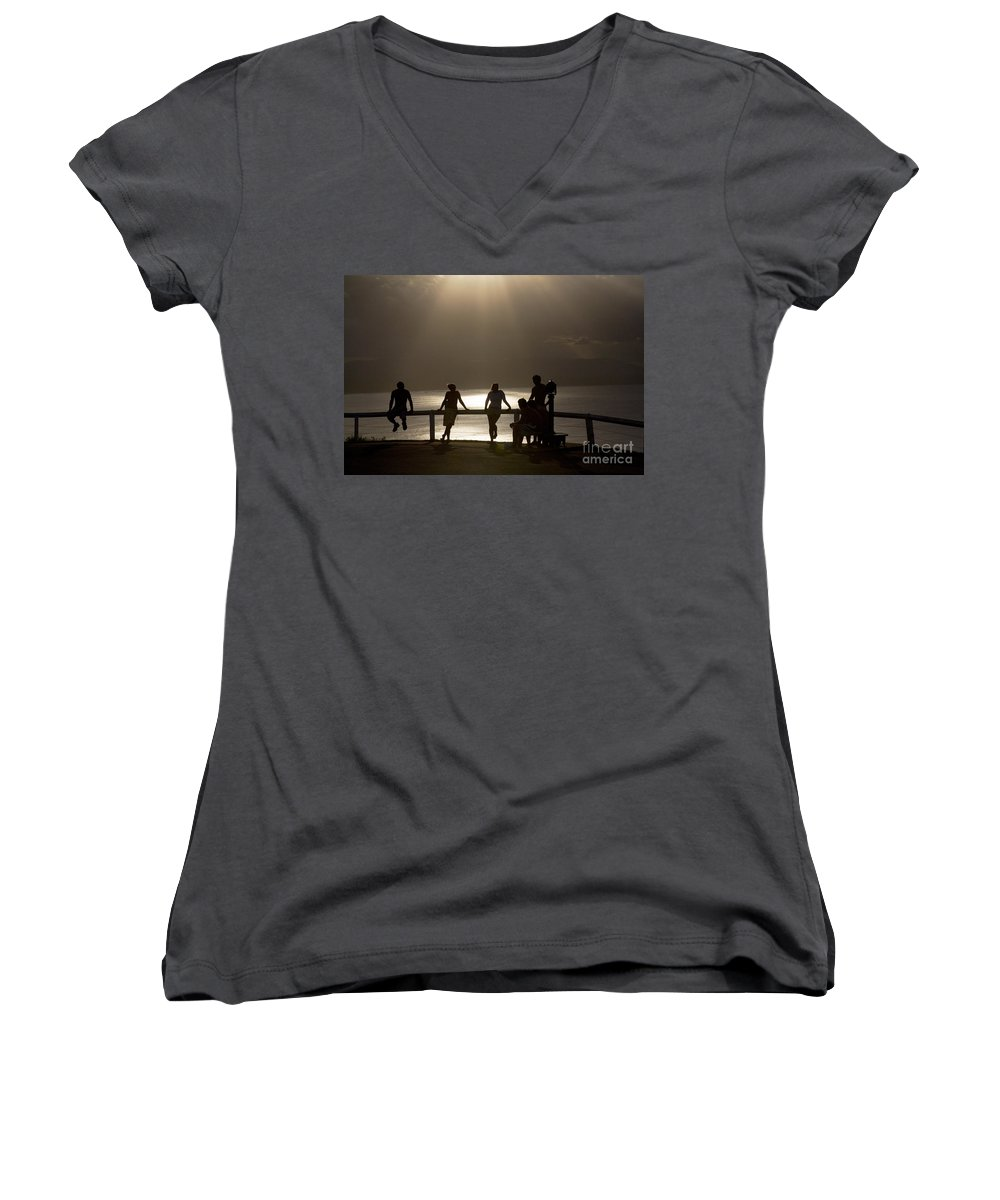 Byron Bay Lighthouse Silhouette Sunset Rays Women's V-Neck T-Shirt featuring the photograph Byron Bay Lighthouse by Avalon Fine Art Photography