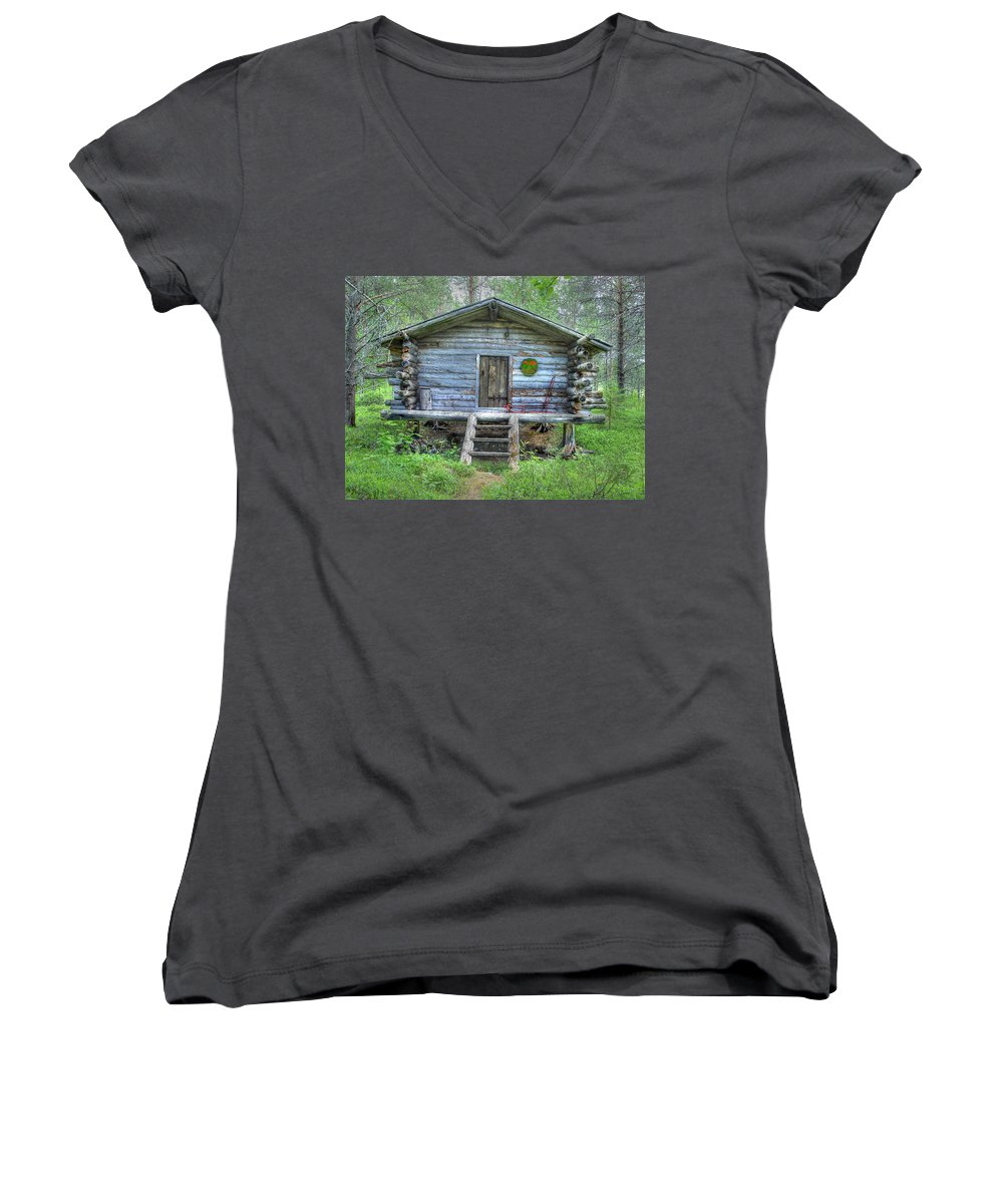 Rustic Women's V-Neck T-Shirt featuring the photograph Cabin In Lapland Forest by Merja Waters