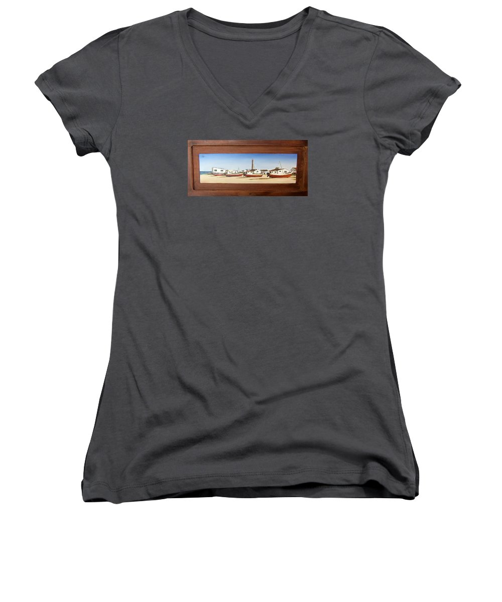 Landscape Seascape Uruguay Beach Boats Sea Lighthouse Women's V-Neck (Athletic Fit) featuring the painting Cabo Polonio 2 by Natalia Tejera