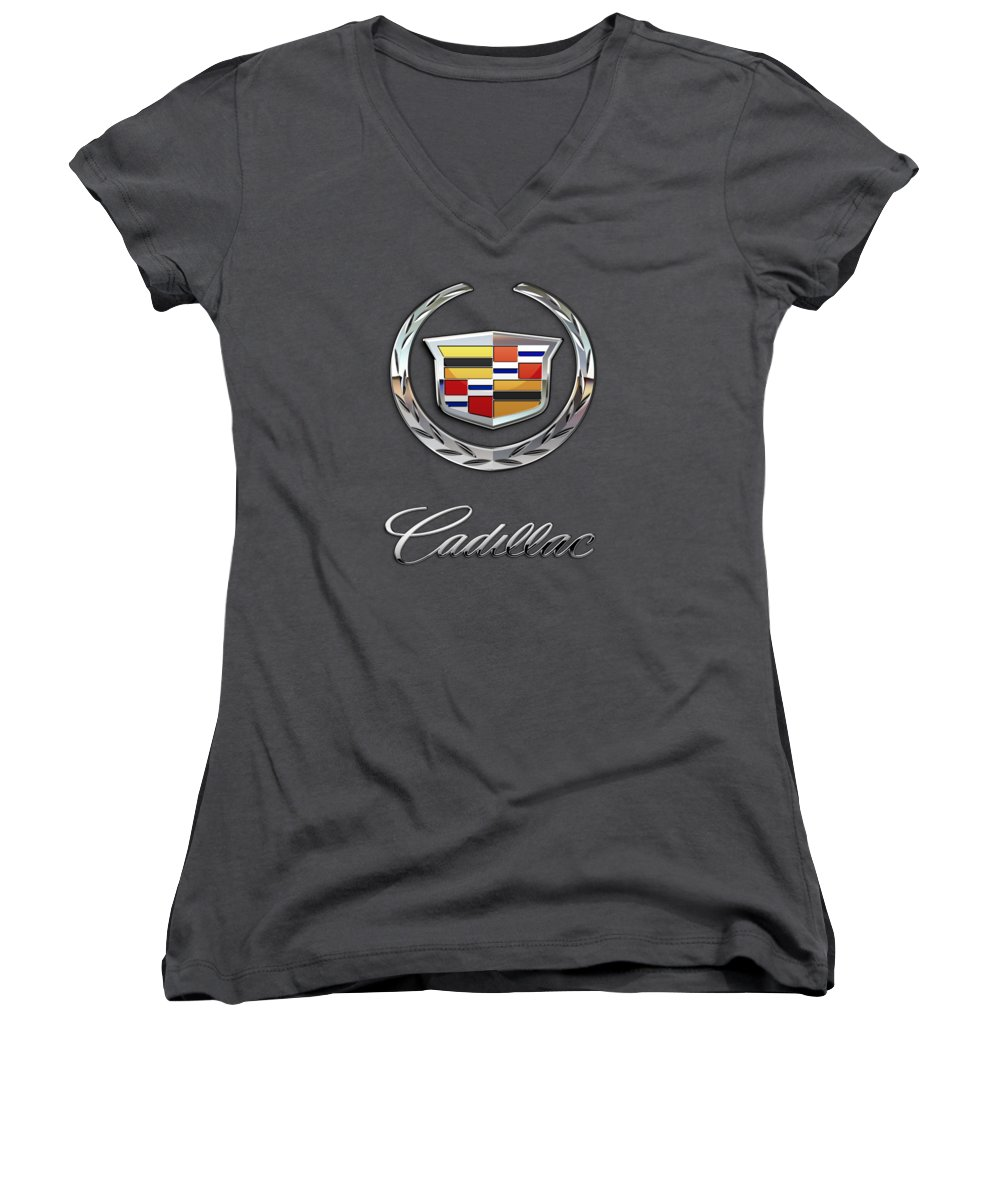 �wheels Of Fortune� Collection By Serge Averbukh Women's V-Neck featuring the photograph Cadillac - 3 D Badge On Red by Serge Averbukh