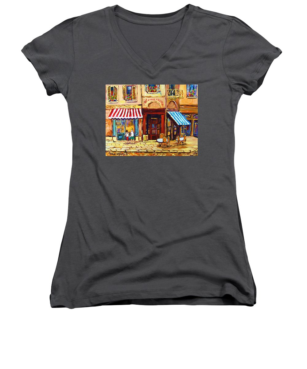 Old Montreal Outdoor Cafe City Scenes Women's V-Neck (Athletic Fit) featuring the painting Cafe De Vieux Montreal With Couple by Carole Spandau