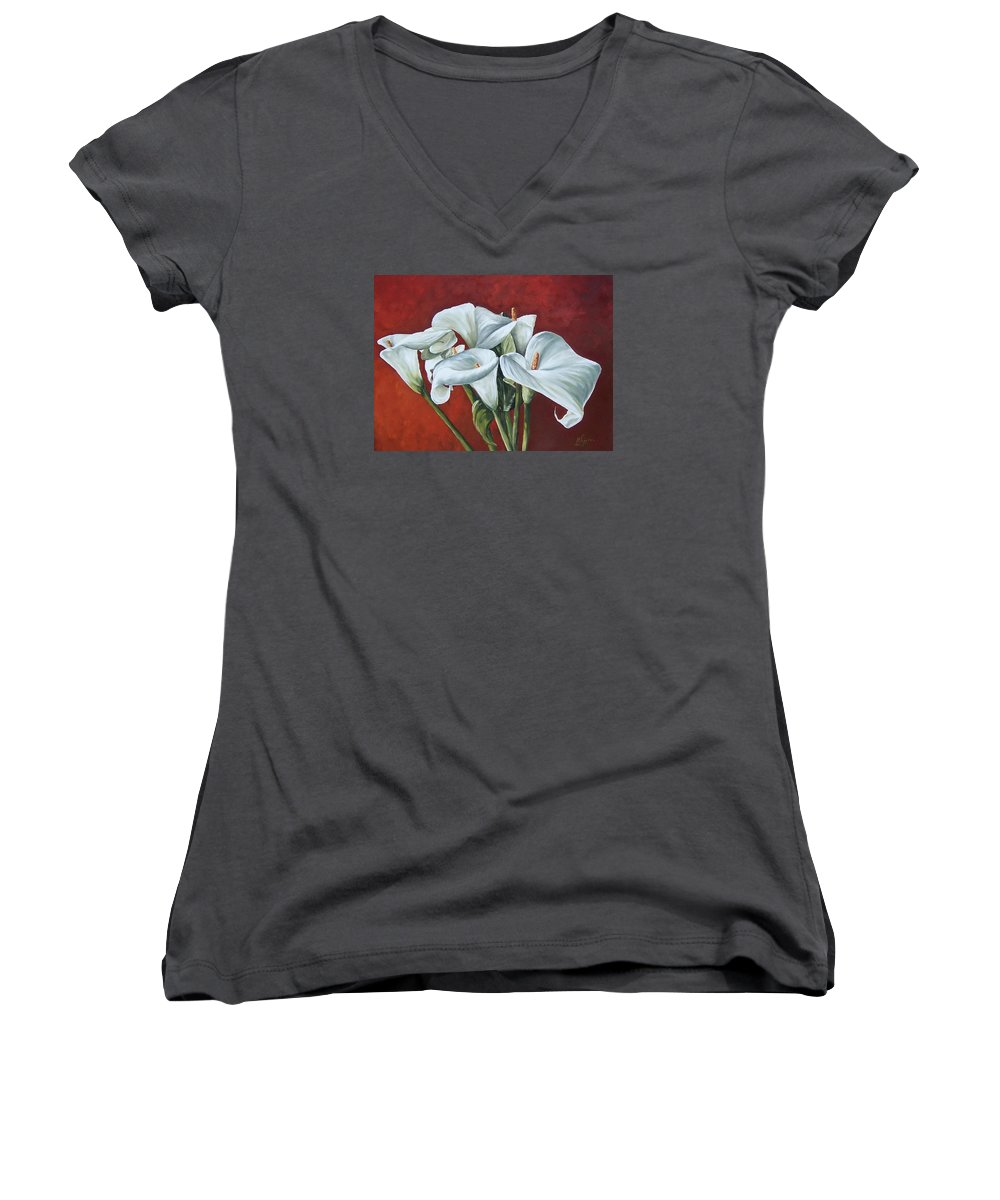 Calas Women's V-Neck (Athletic Fit) featuring the painting Calas by Natalia Tejera