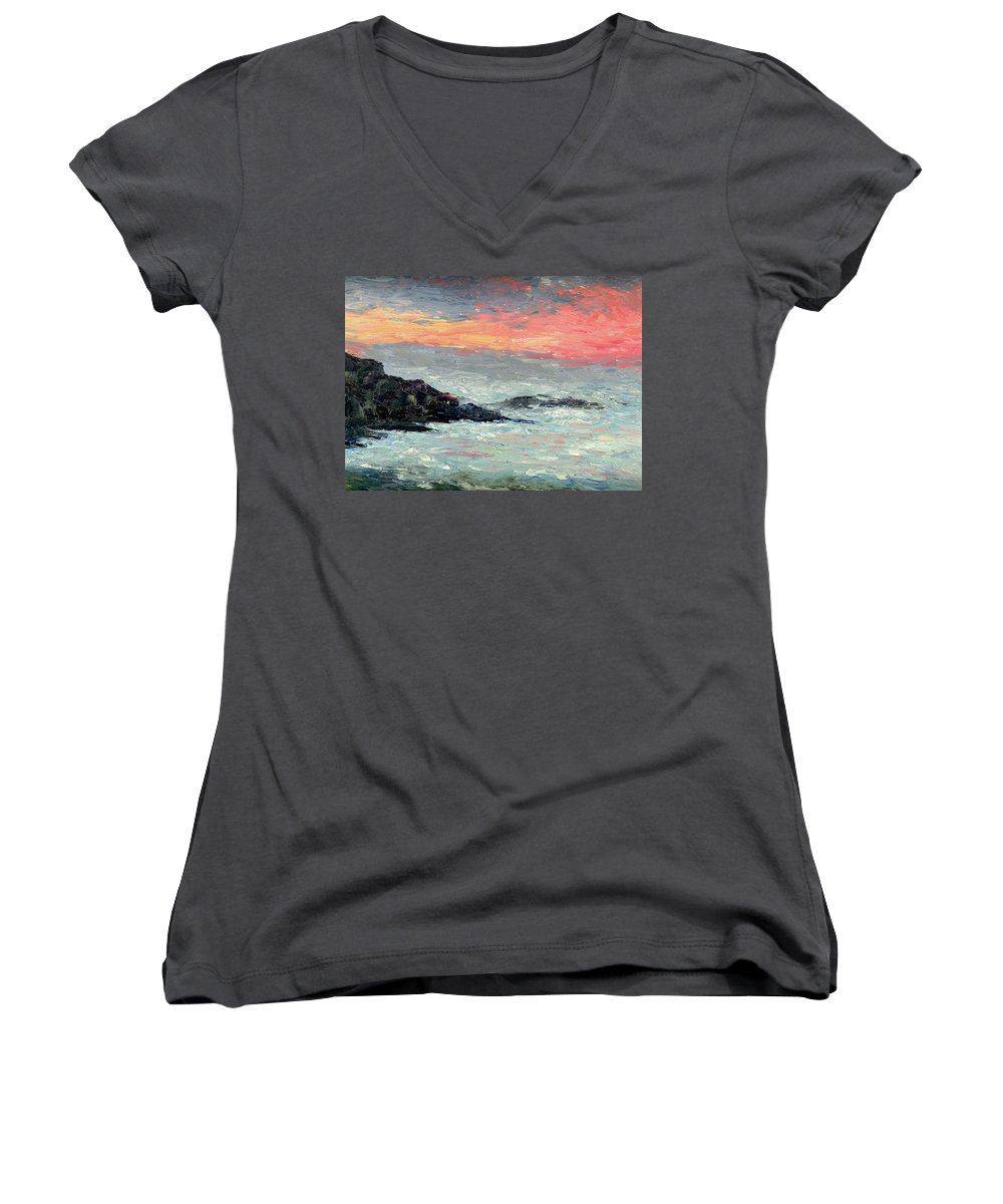 Seascape Women's V-Neck (Athletic Fit) featuring the painting California Coast by Gail Kirtz