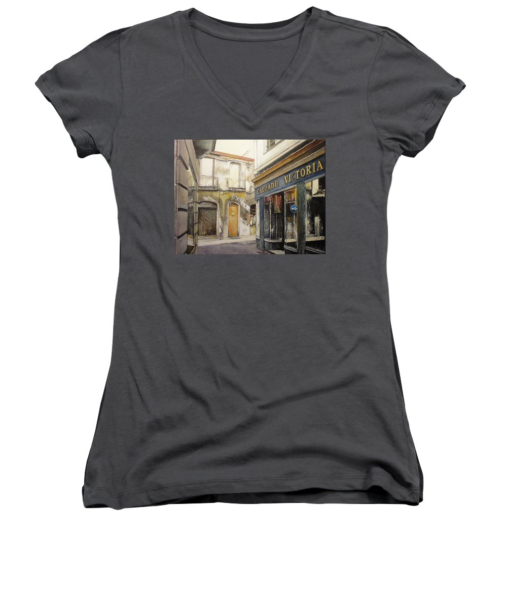 Calzados Women's V-Neck T-Shirt featuring the painting Calzados Victoria-leon by Tomas Castano