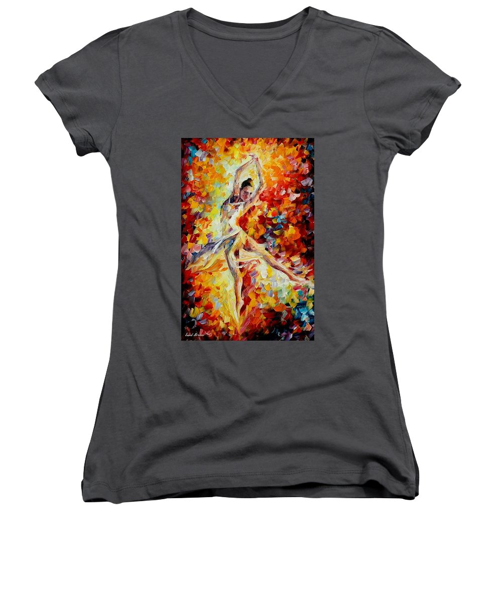 Danse Women's V-Neck (Athletic Fit) featuring the painting Candle Fire by Leonid Afremov