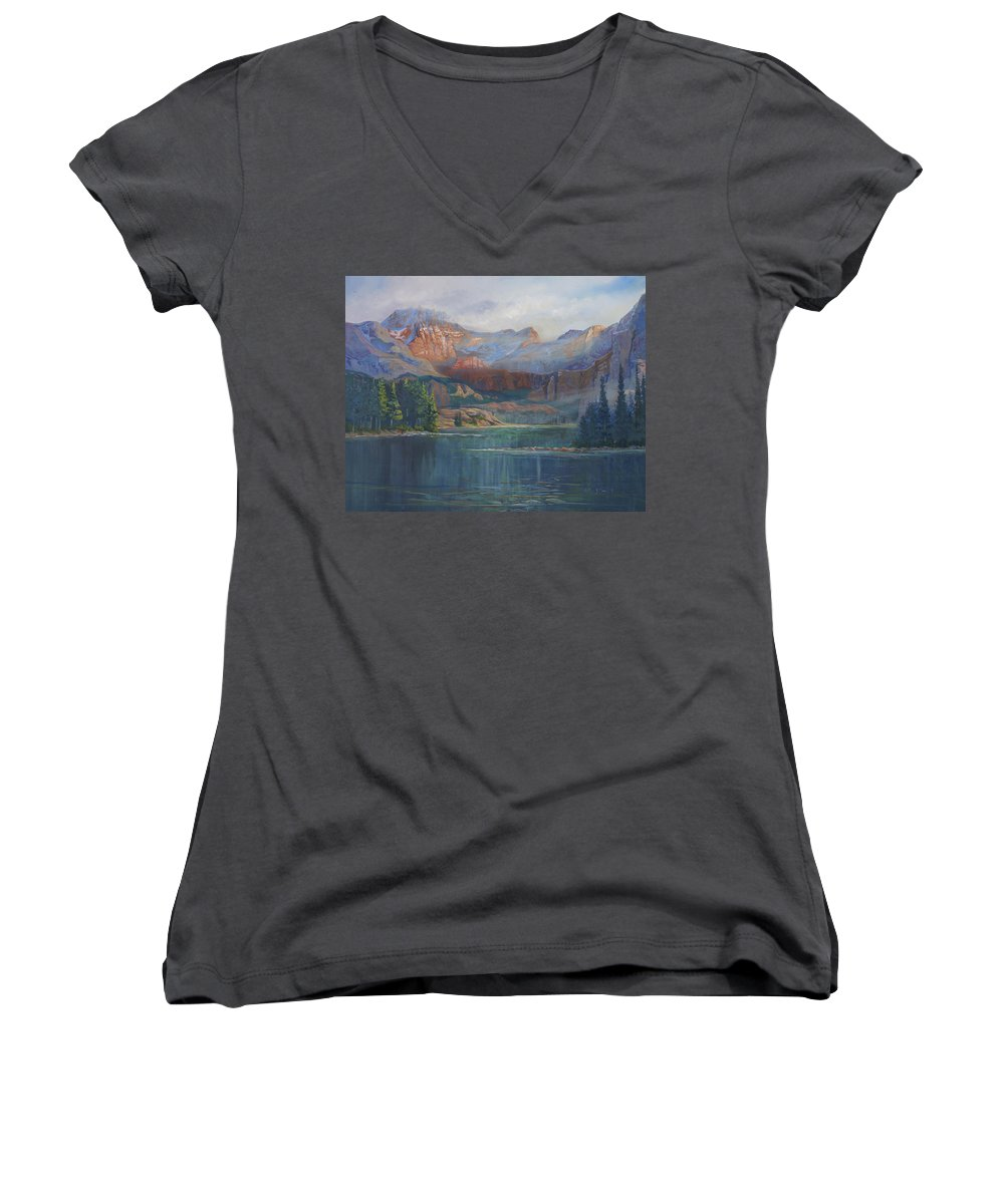 Capital Peak Women's V-Neck (Athletic Fit) featuring the painting Capitol Peak Rocky Mountains by Heather Coen