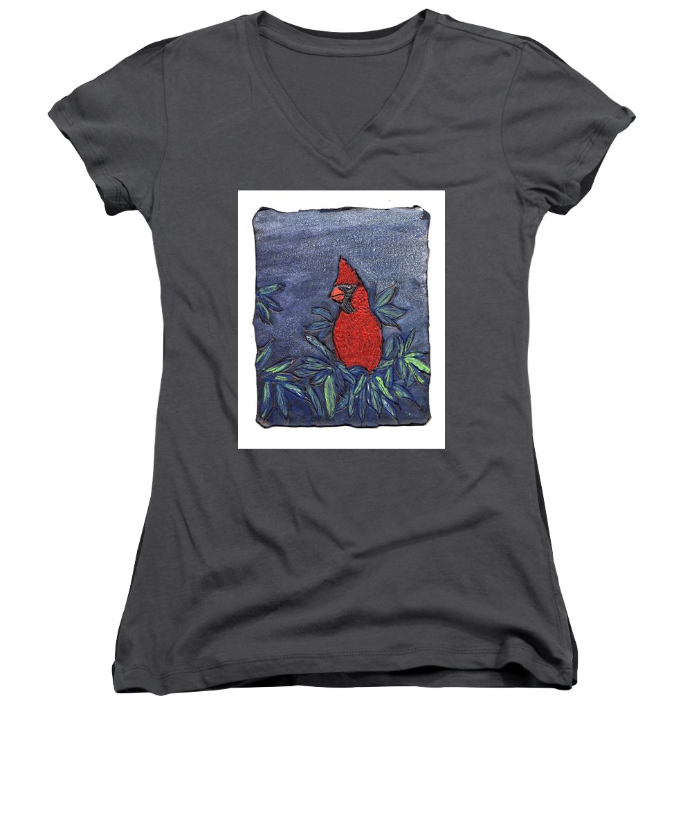 Bird Women's V-Neck T-Shirt featuring the painting Cardinal In Winter by Wayne Potrafka