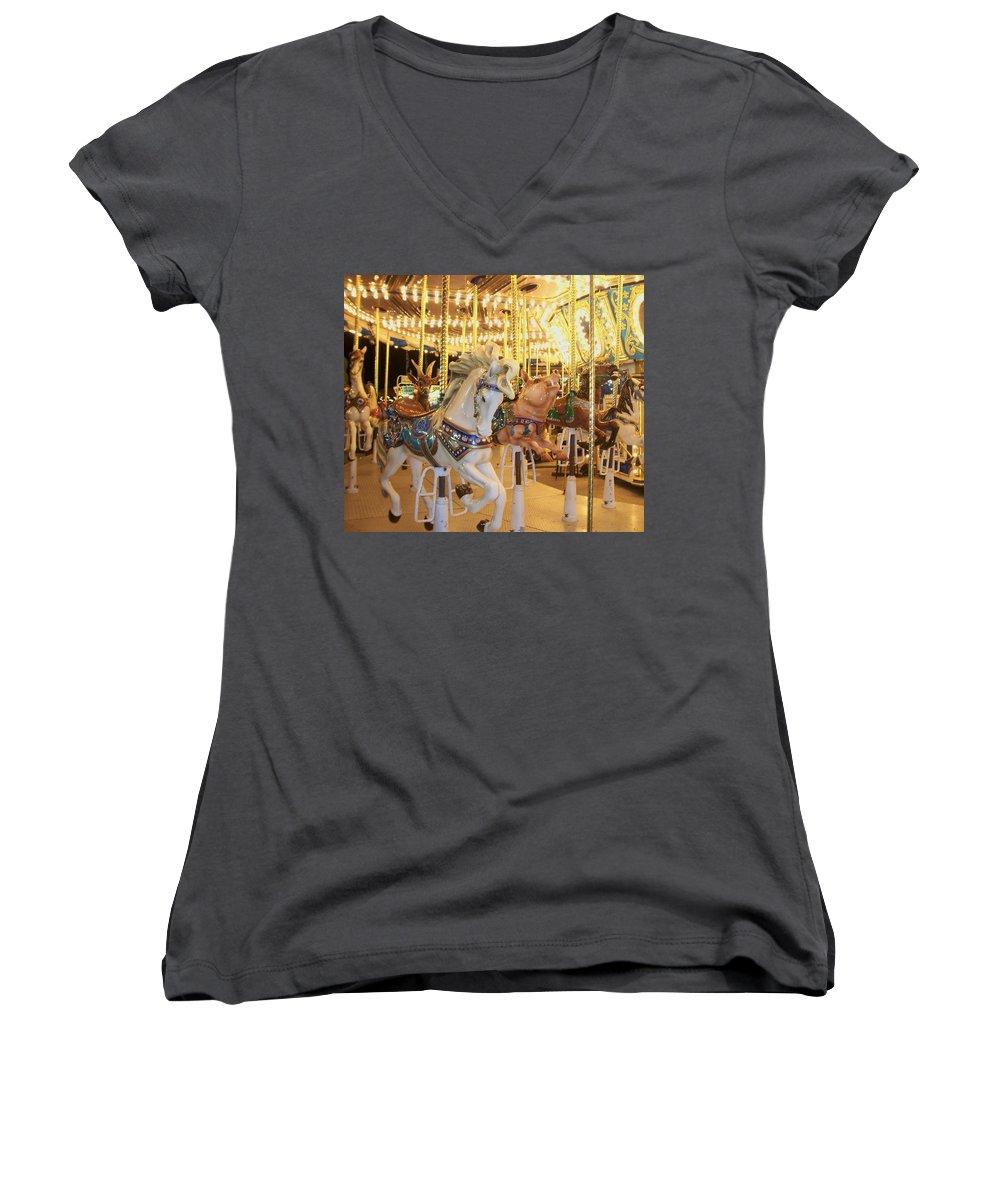 Carosel Horse Women's V-Neck T-Shirt featuring the photograph Carousel Horse 2 by Anita Burgermeister