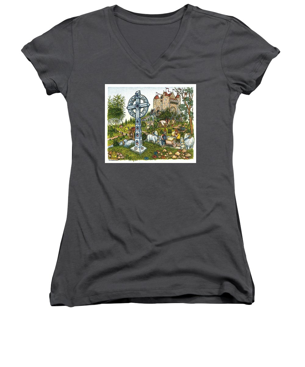 Castle Women's V-Neck (Athletic Fit) featuring the drawing Castle Cross by Bill Perkins