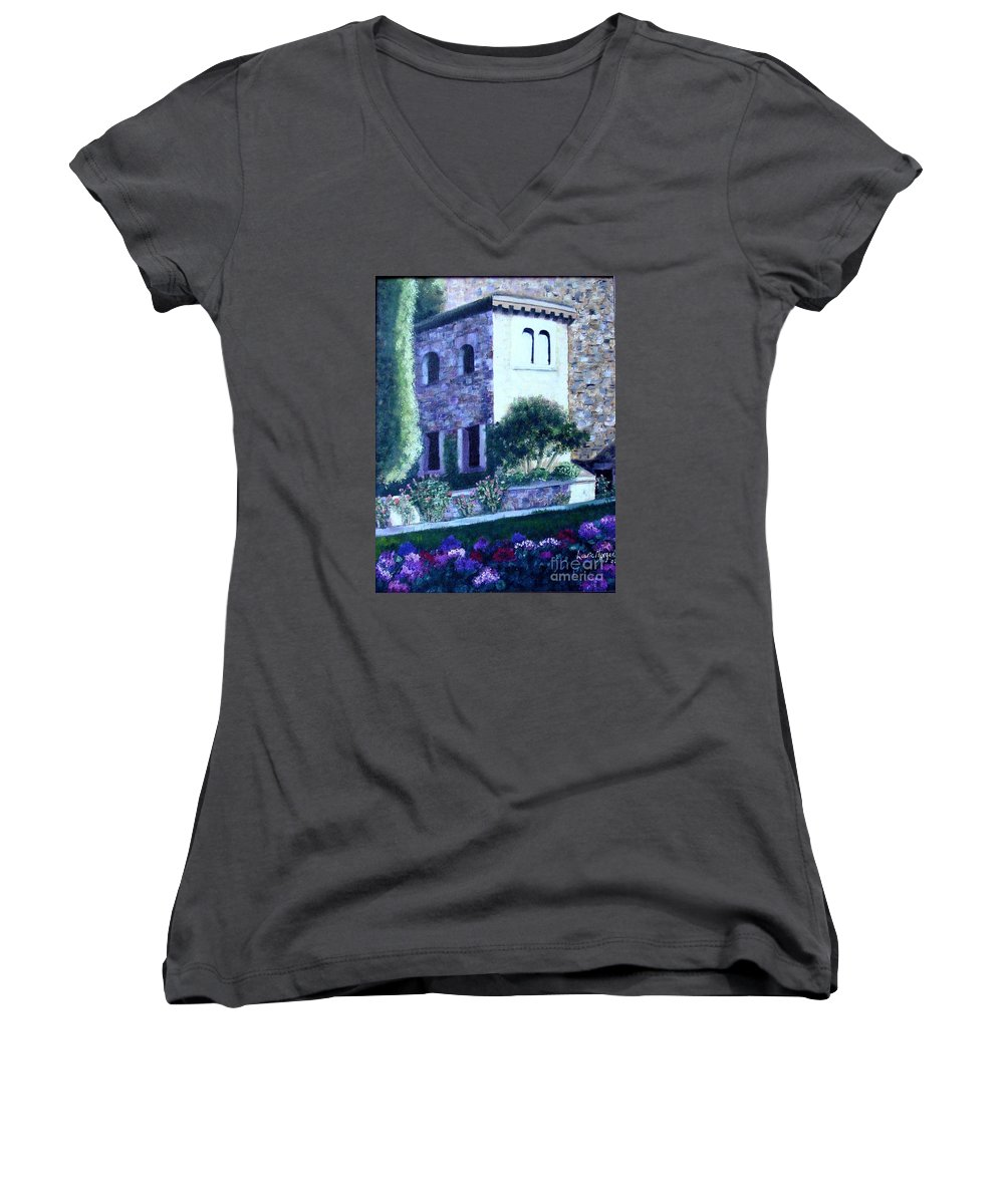 Italy Women's V-Neck T-Shirt featuring the painting Castle Sestri Levante by Laurie Morgan