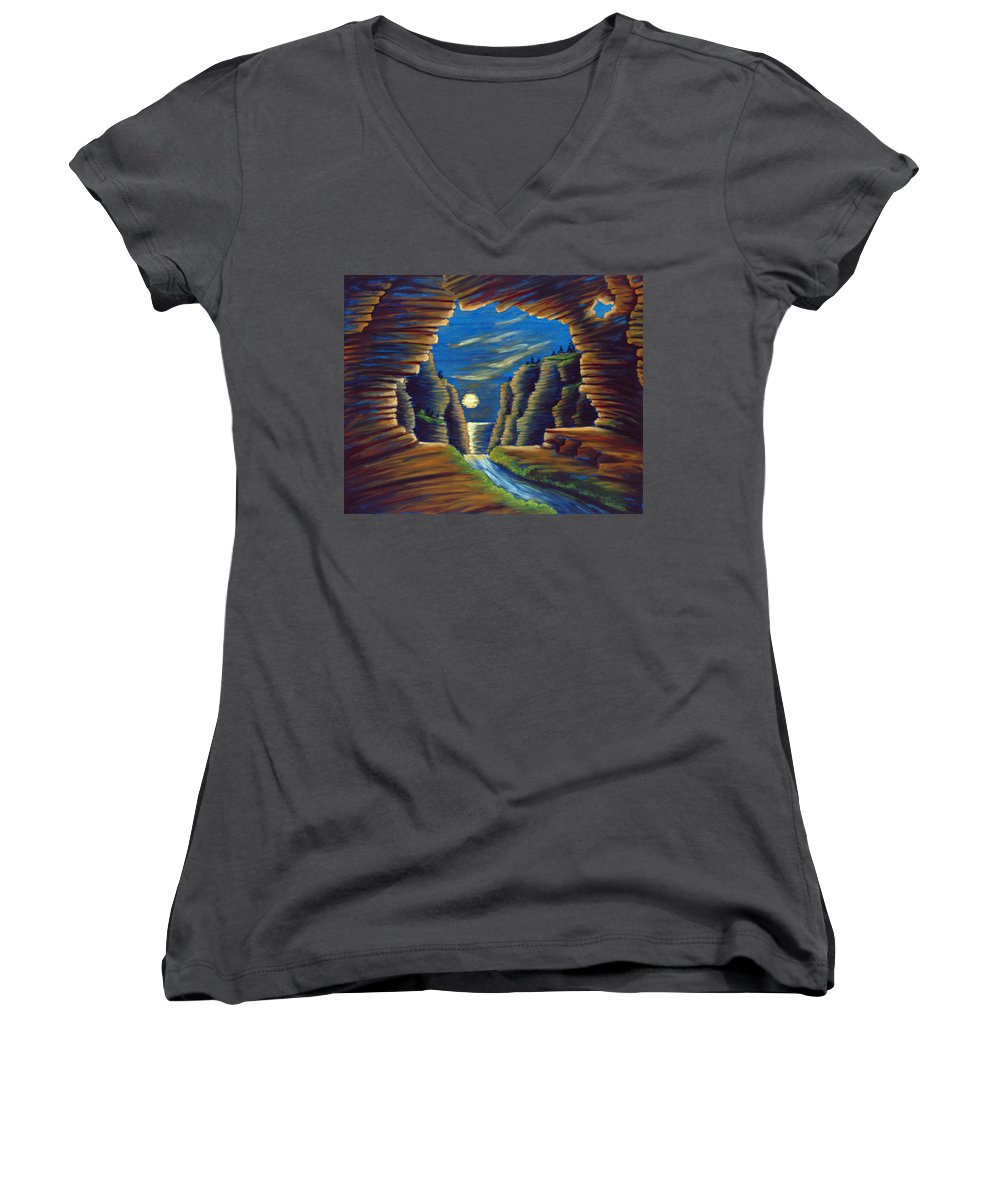 Cave Women's V-Neck T-Shirt featuring the painting Cave With Cliffs by Jennifer McDuffie