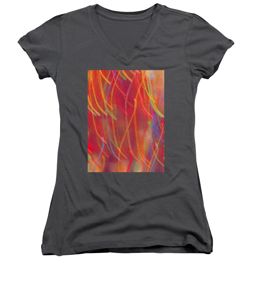 Abstract Women's V-Neck T-Shirt featuring the photograph Celebration by Gaby Swanson