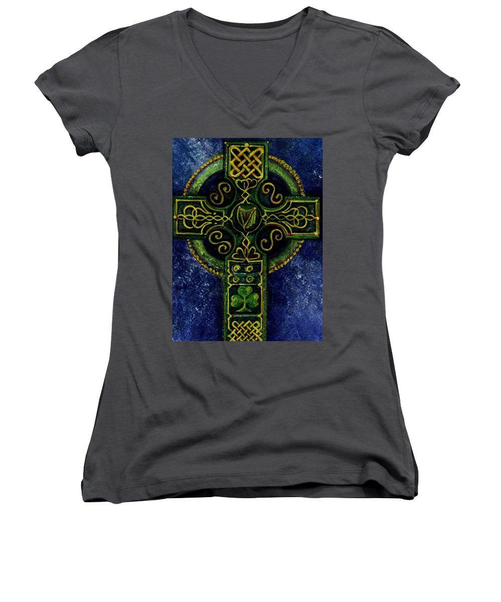Elle Fagan Women's V-Neck T-Shirt featuring the painting Celtic Cross - Harp by Elle Smith Fagan