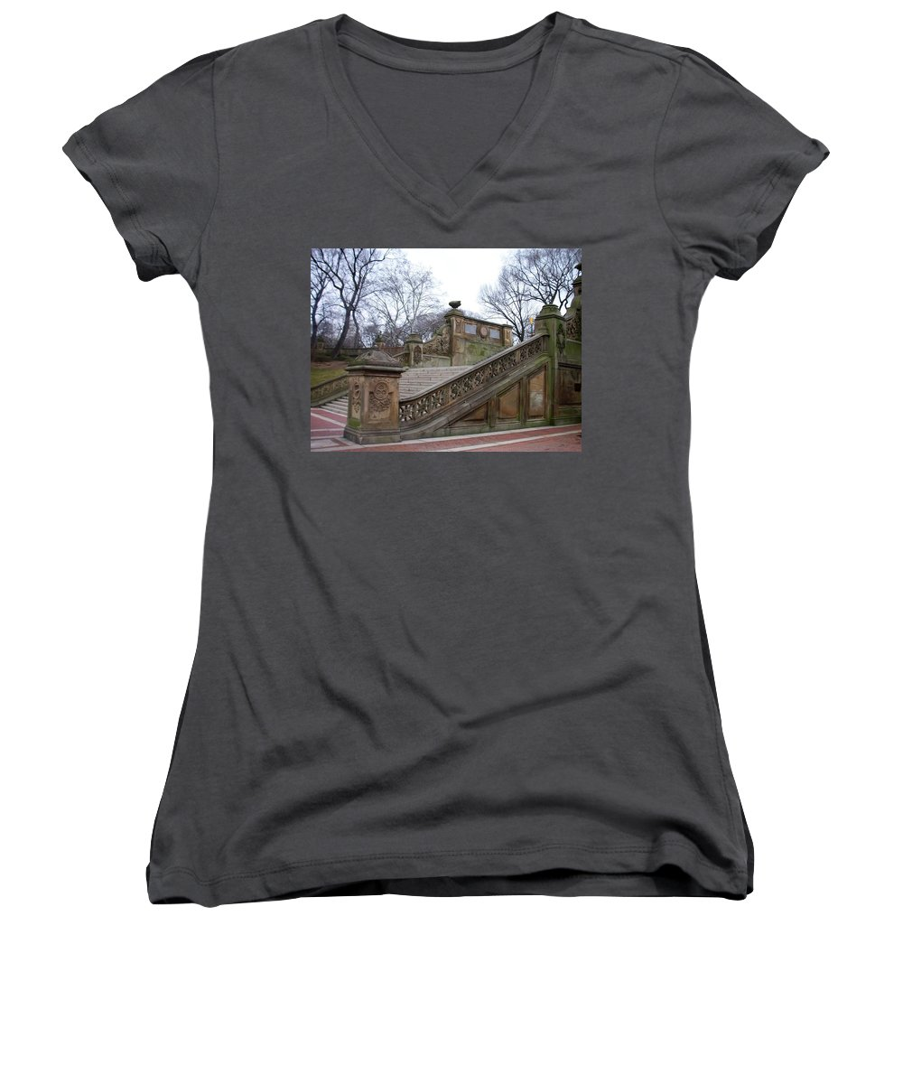 Central Park Women's V-Neck T-Shirt featuring the photograph Central Park Bethesda 1 by Anita Burgermeister