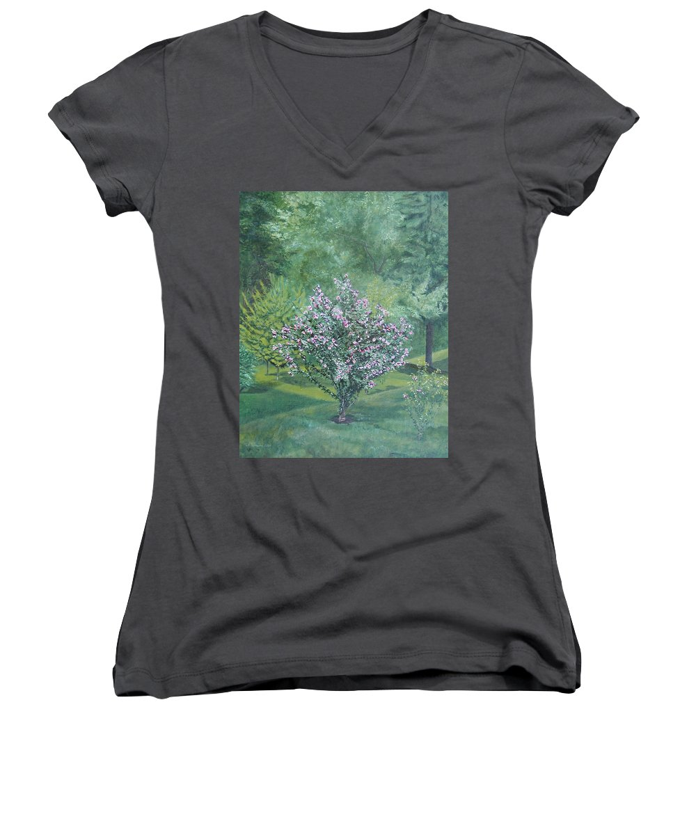 Blooming Women's V-Neck T-Shirt featuring the painting Charles Street by Leah Tomaino