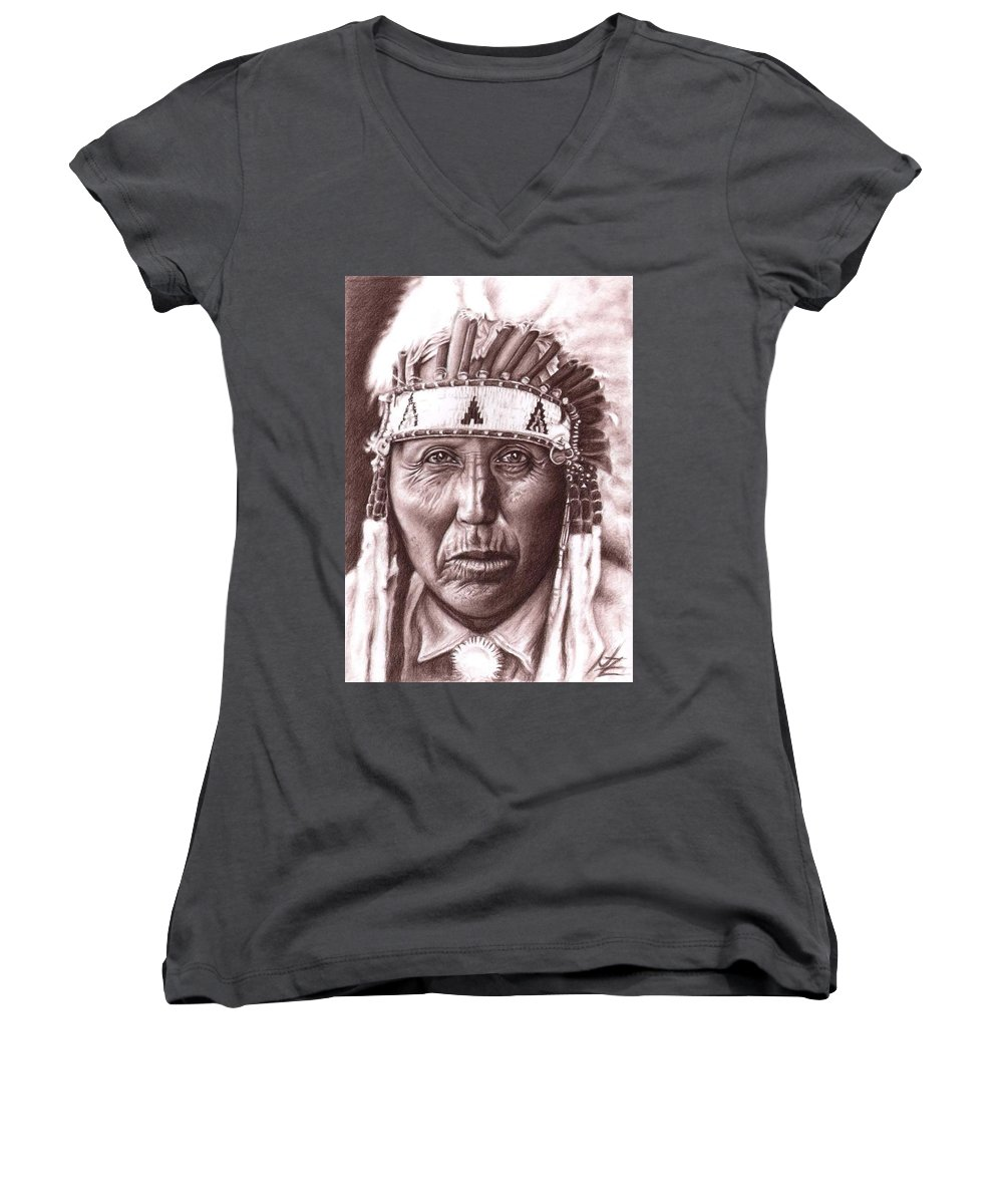 Indian Women's V-Neck (Athletic Fit) featuring the drawing Cherokee by Nicole Zeug