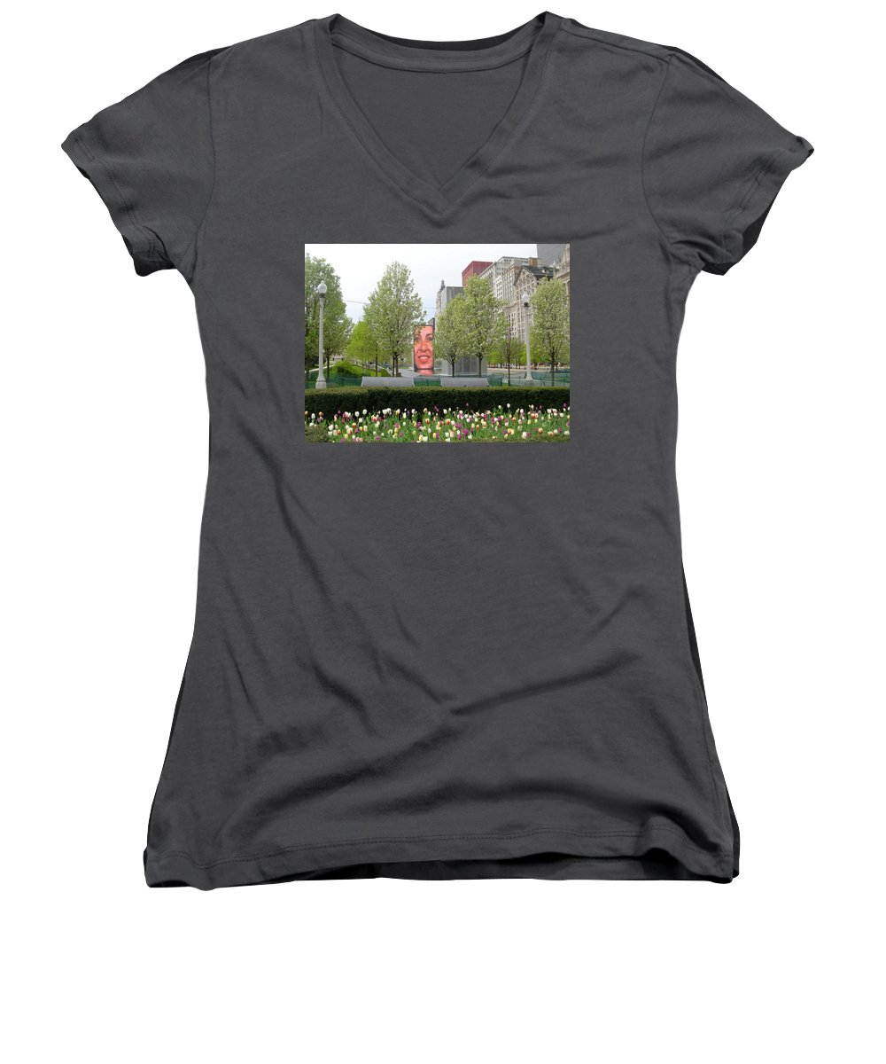 Chicago Women's V-Neck T-Shirt featuring the photograph Chicago by Jean Macaluso