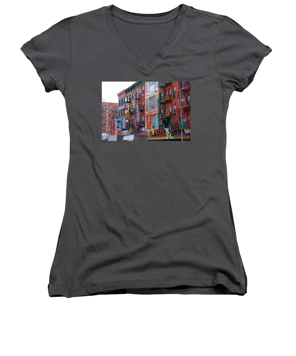 Architecture Women's V-Neck T-Shirt featuring the photograph China Town Buildings by Rob Hans