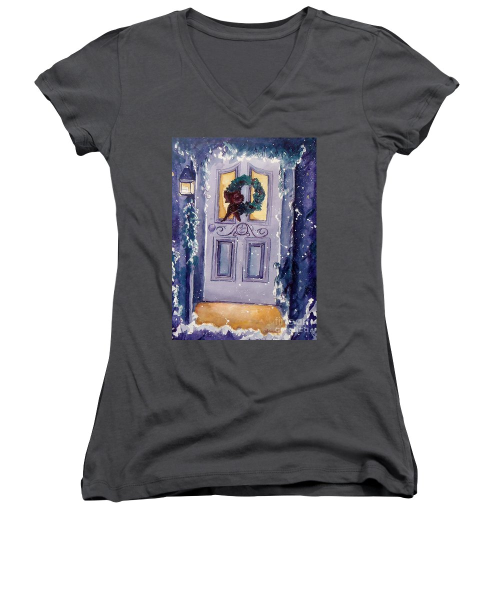 Holiday Scene Women's V-Neck (Athletic Fit) featuring the painting Christmas Eve by Jan Bennicoff