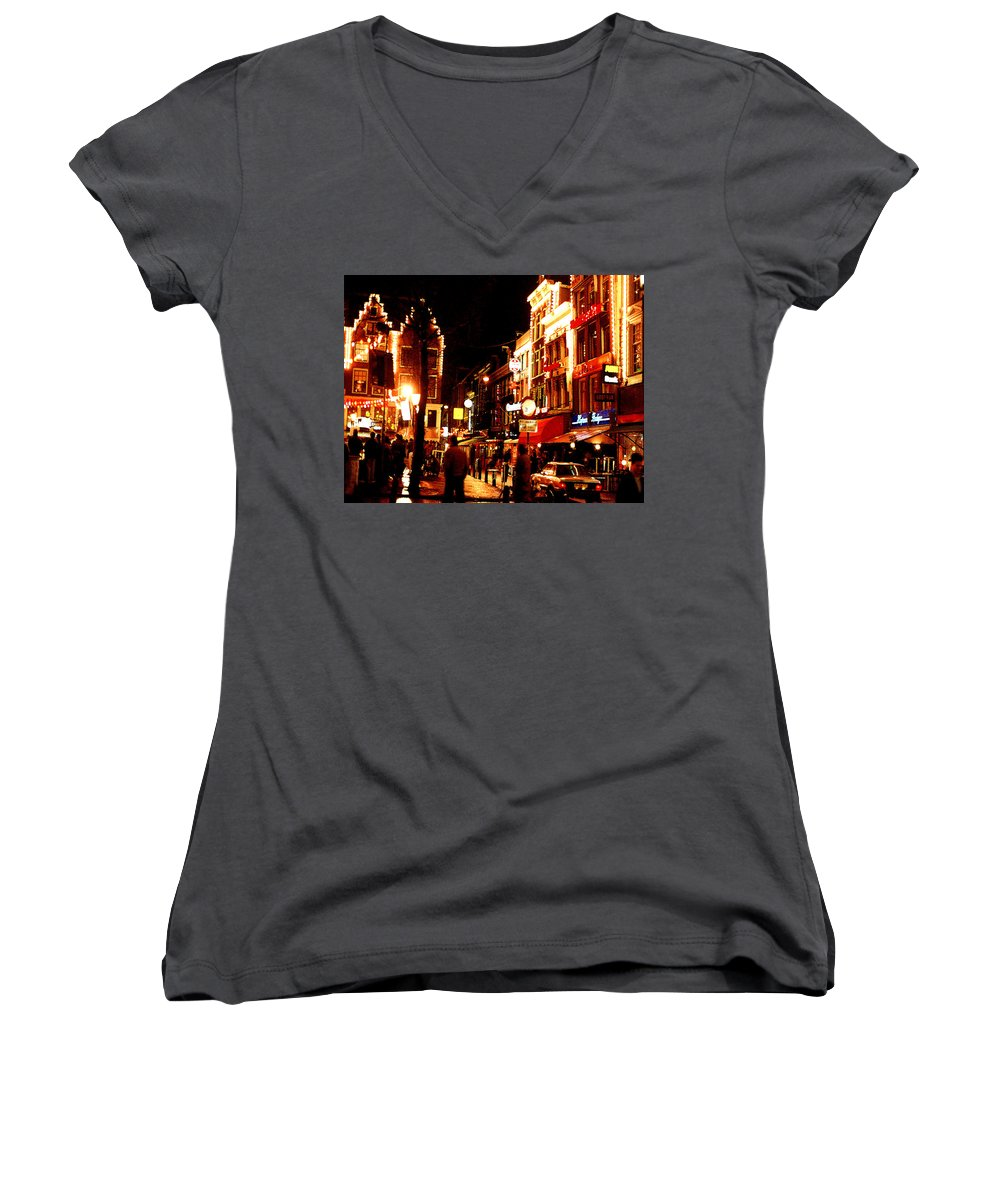 Night Women's V-Neck (Athletic Fit) featuring the photograph Christmas In Amsterdam by Nancy Mueller