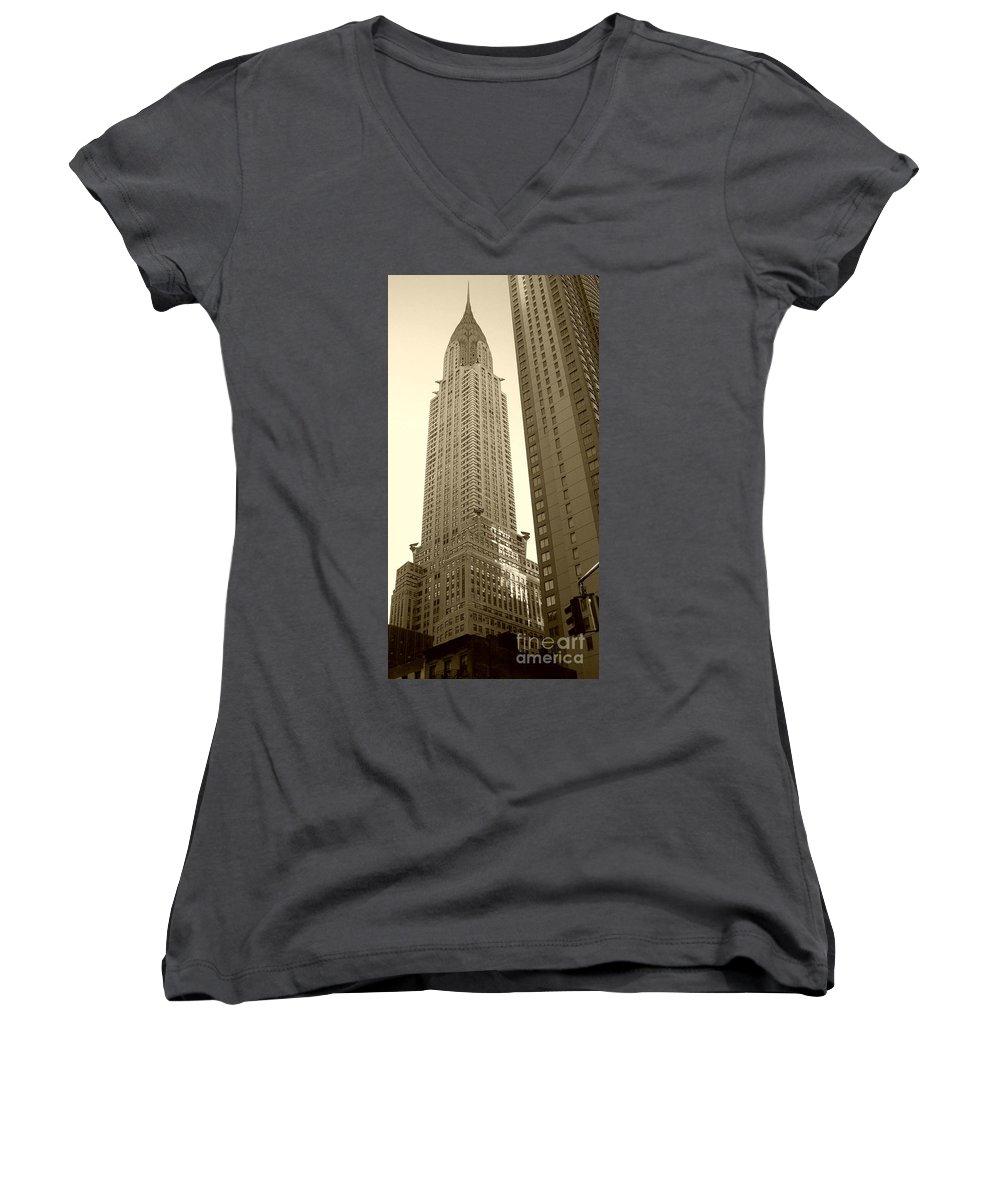 New York Women's V-Neck T-Shirt featuring the photograph Chrysler Building by Debbi Granruth