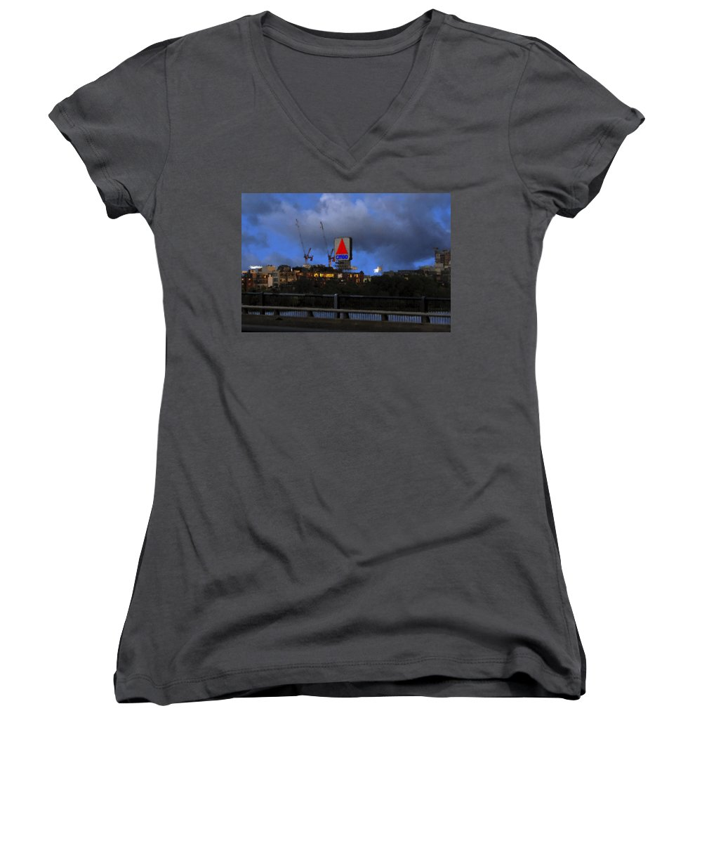 Citgo Sign Women's V-Neck T-Shirt featuring the digital art Citgo Sign by Edward Cardini