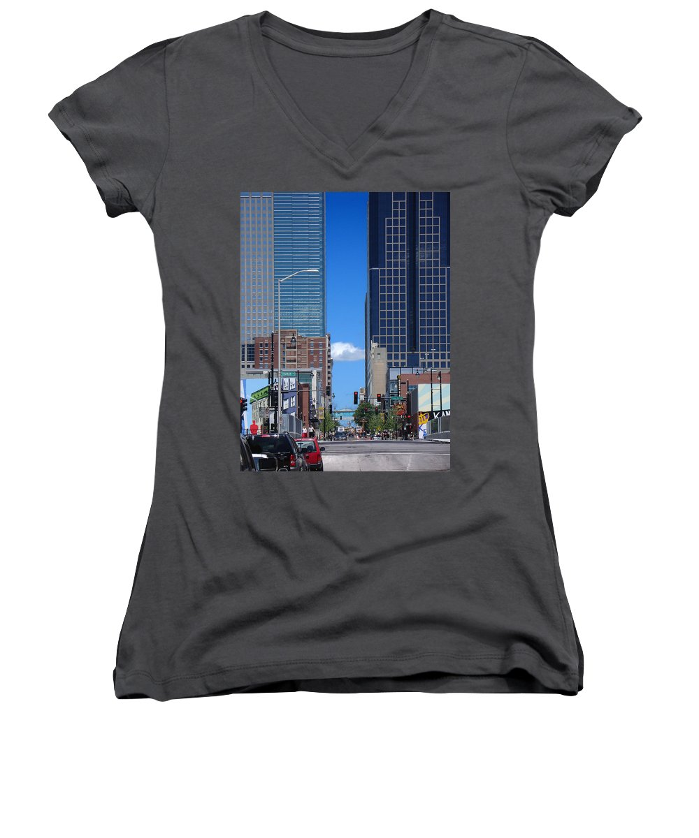 Kansas City Women's V-Neck T-Shirt featuring the photograph City Street Canyon by Steve Karol