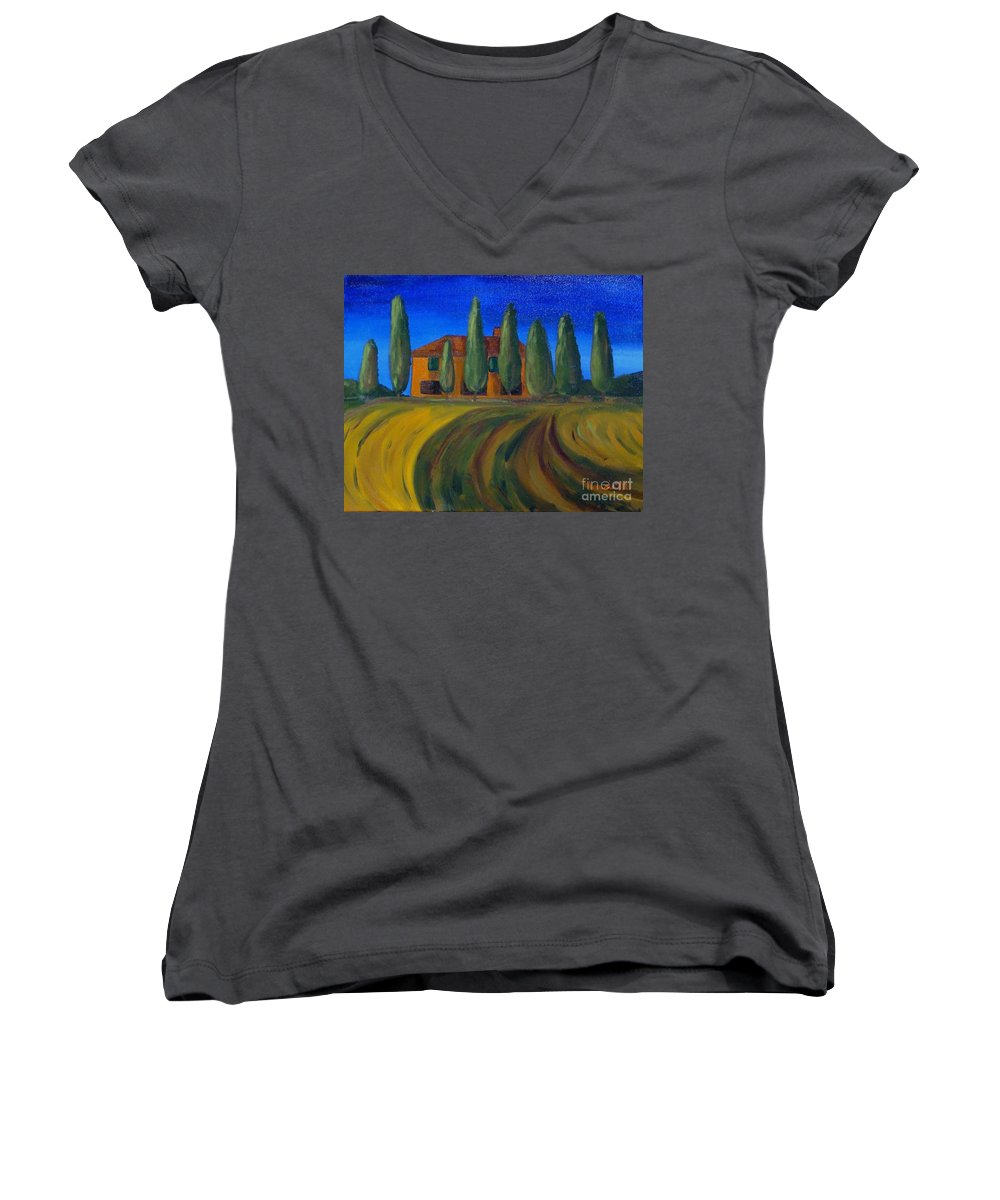 Tuscany Women's V-Neck (Athletic Fit) featuring the painting Classic Tuscan Sunset by Laurie Morgan