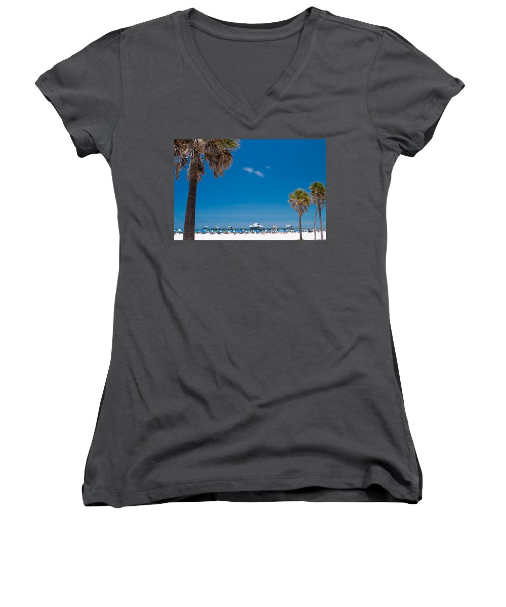 3scape Photos Women's V-Neck T-Shirt featuring the photograph Clearwater Beach by Adam Romanowicz