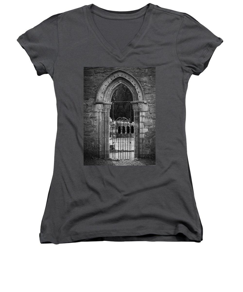 Irish Women's V-Neck T-Shirt featuring the photograph Cloister View Cong Abbey Cong Ireland by Teresa Mucha